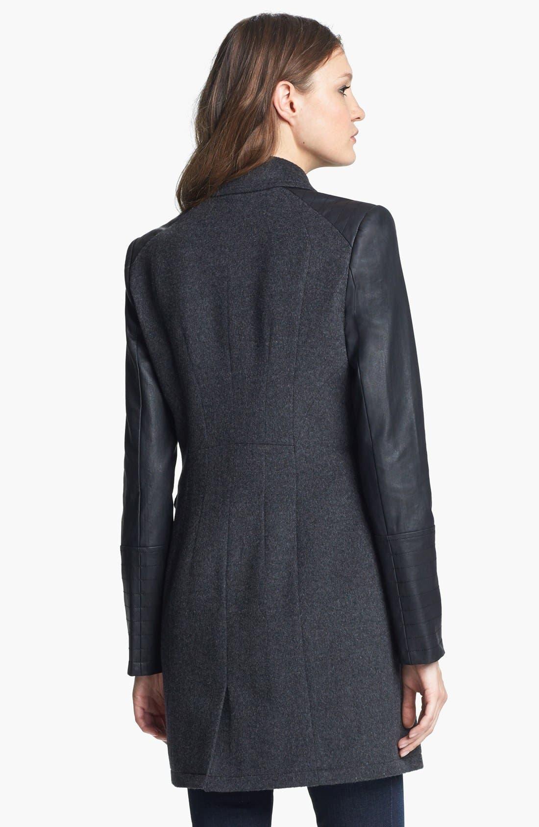Faux Leather Sleeve Moto Coat,                             Alternate thumbnail 3, color,                             021