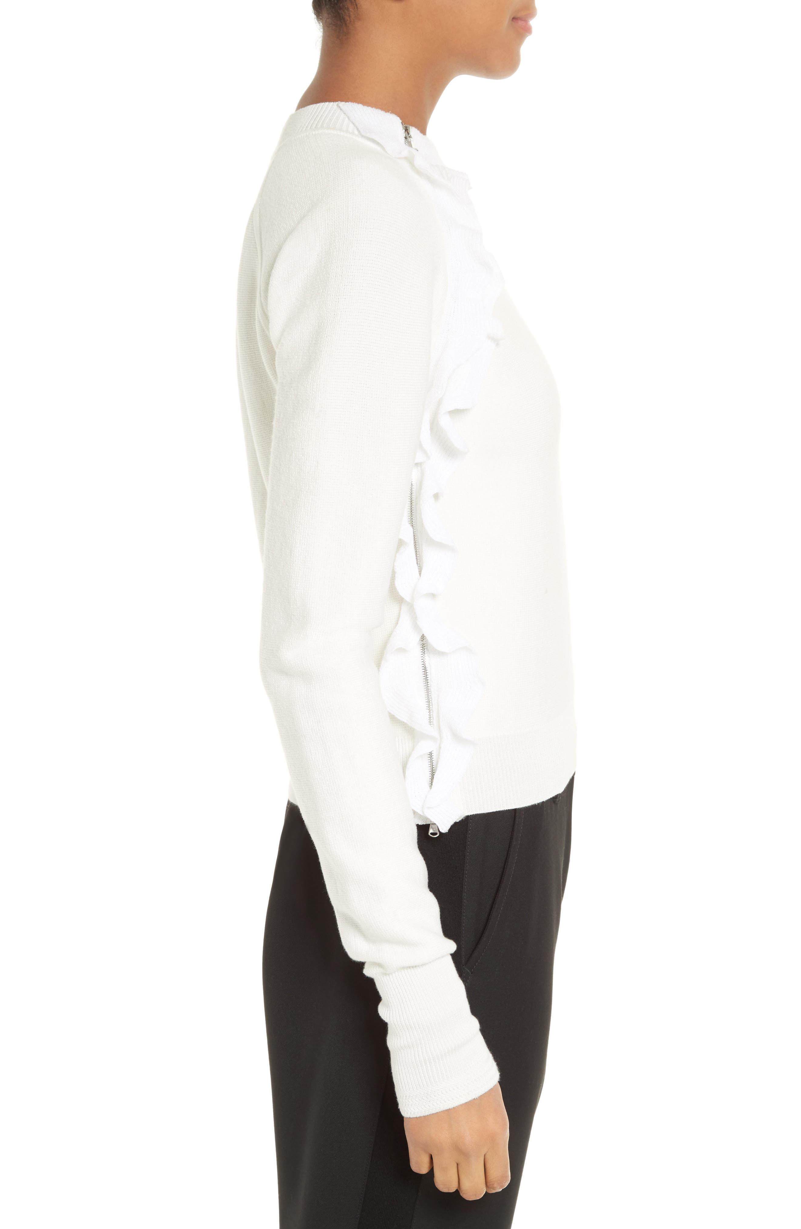 Ruffle Front Zip Pullover,                             Alternate thumbnail 3, color,