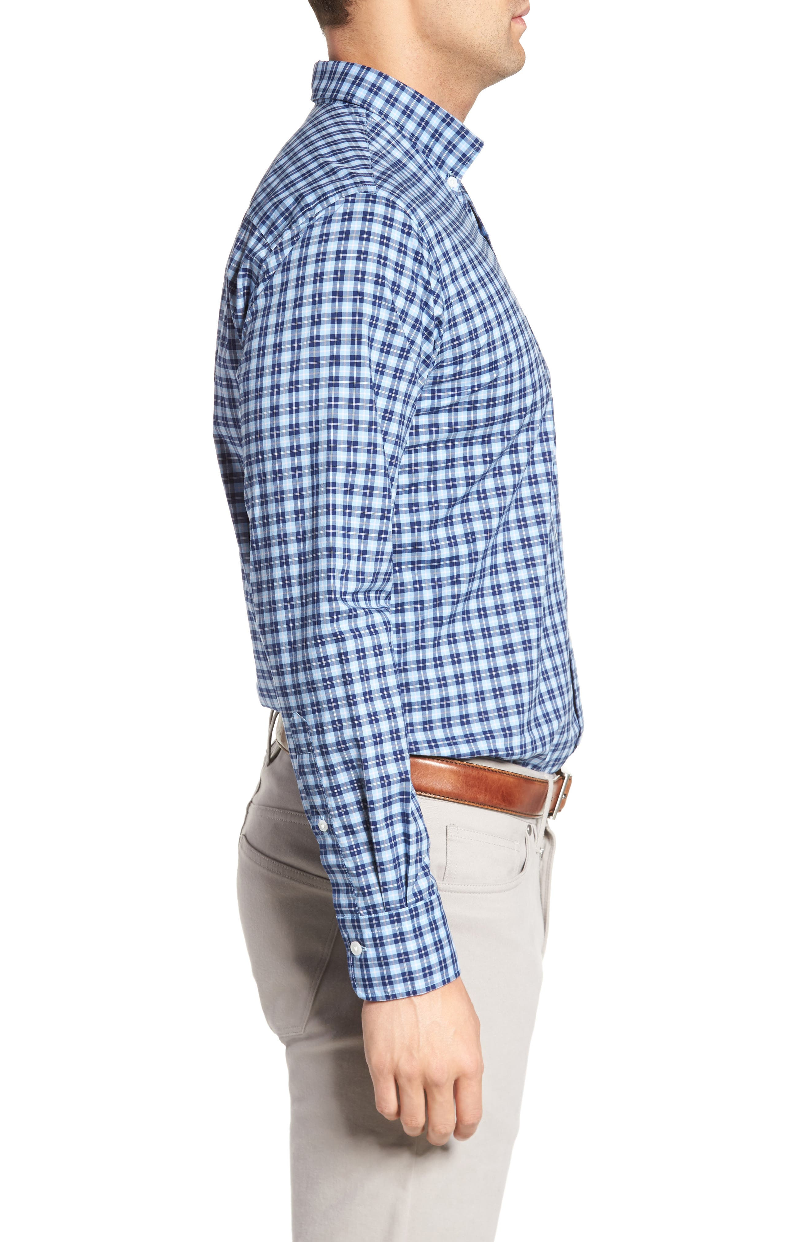 Crown Vintage Regular Fit Mini Plaid Sport Shirt,                             Alternate thumbnail 3, color,                             439
