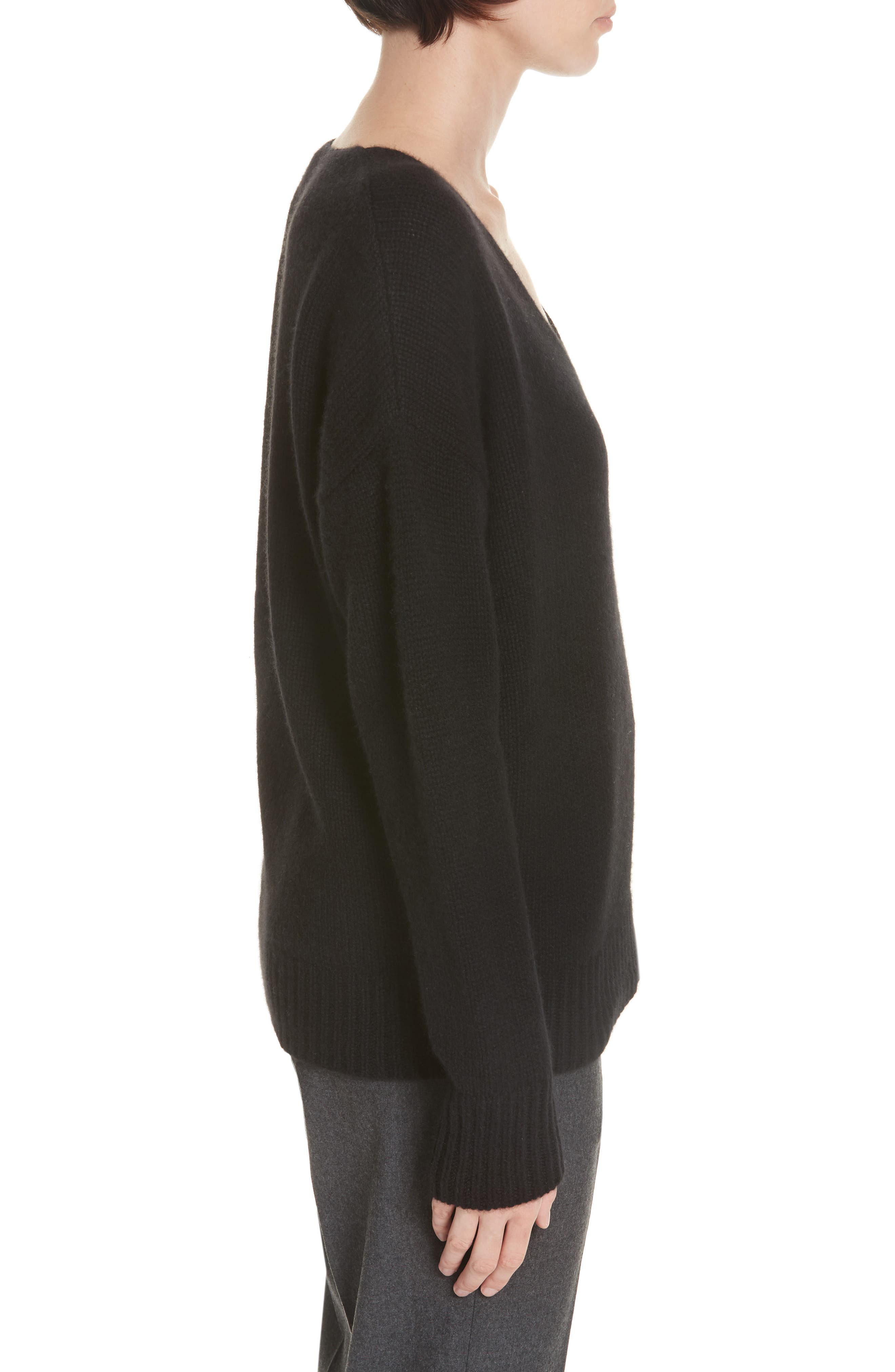 Relaxed Cashmere Sweater,                             Alternate thumbnail 3, color,                             BLACK