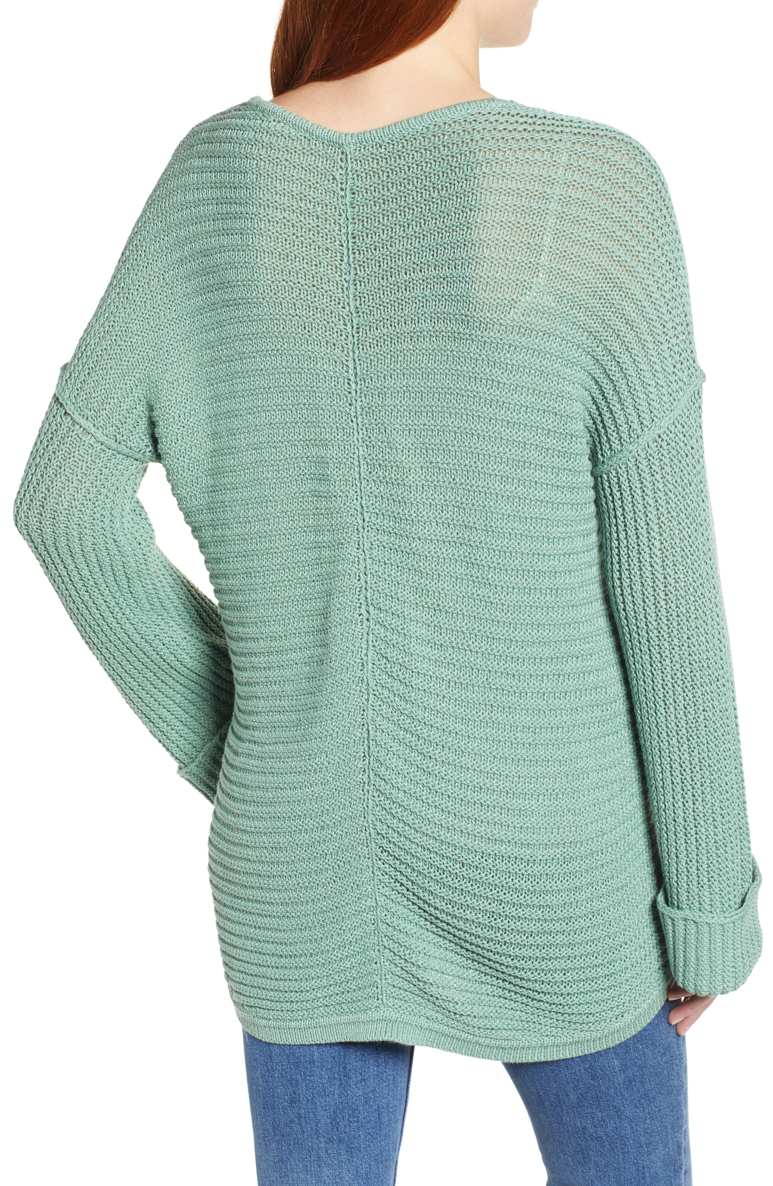 CASLON<SUP>®</SUP>,                             Cuffed Sleeve Sweater,                             Alternate thumbnail 2, color,                             GREEN WING