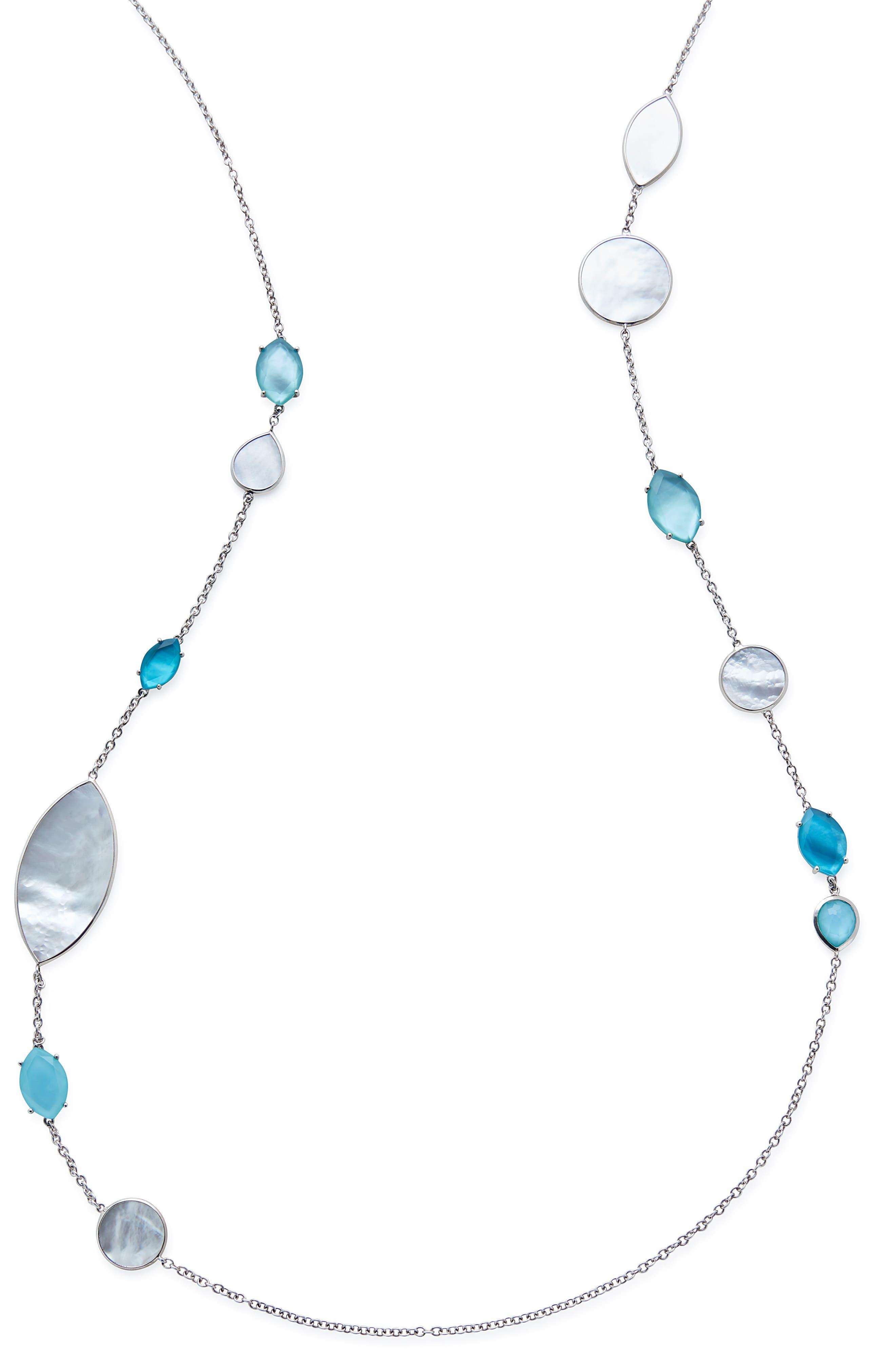 Wonderland Long Marquise Stone Necklace,                             Alternate thumbnail 2, color,                             BLUE/ MOP