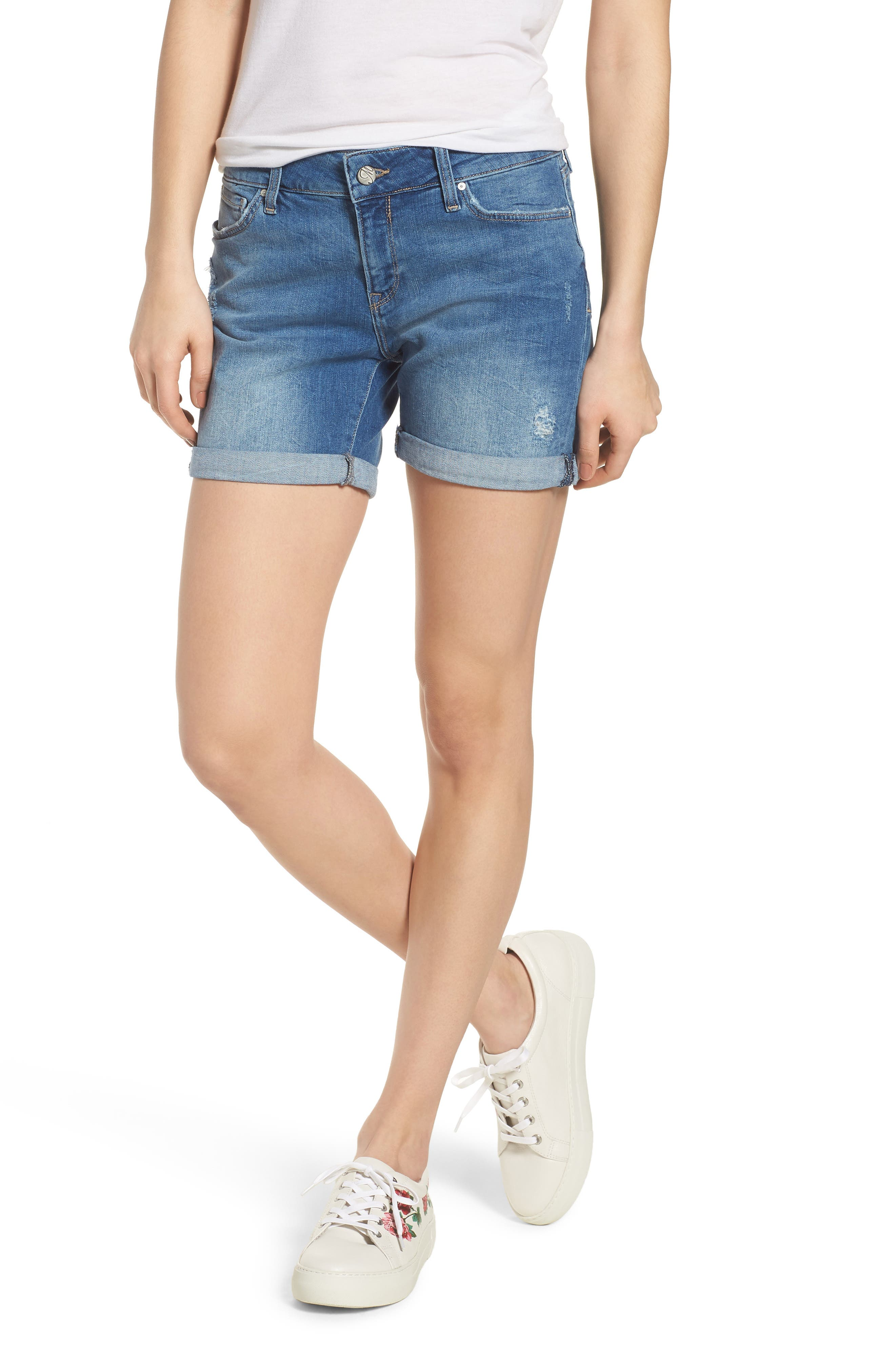 Pixie Denim Boyfriend Shorts,                         Main,                         color, DISTRESSED VINTAGE
