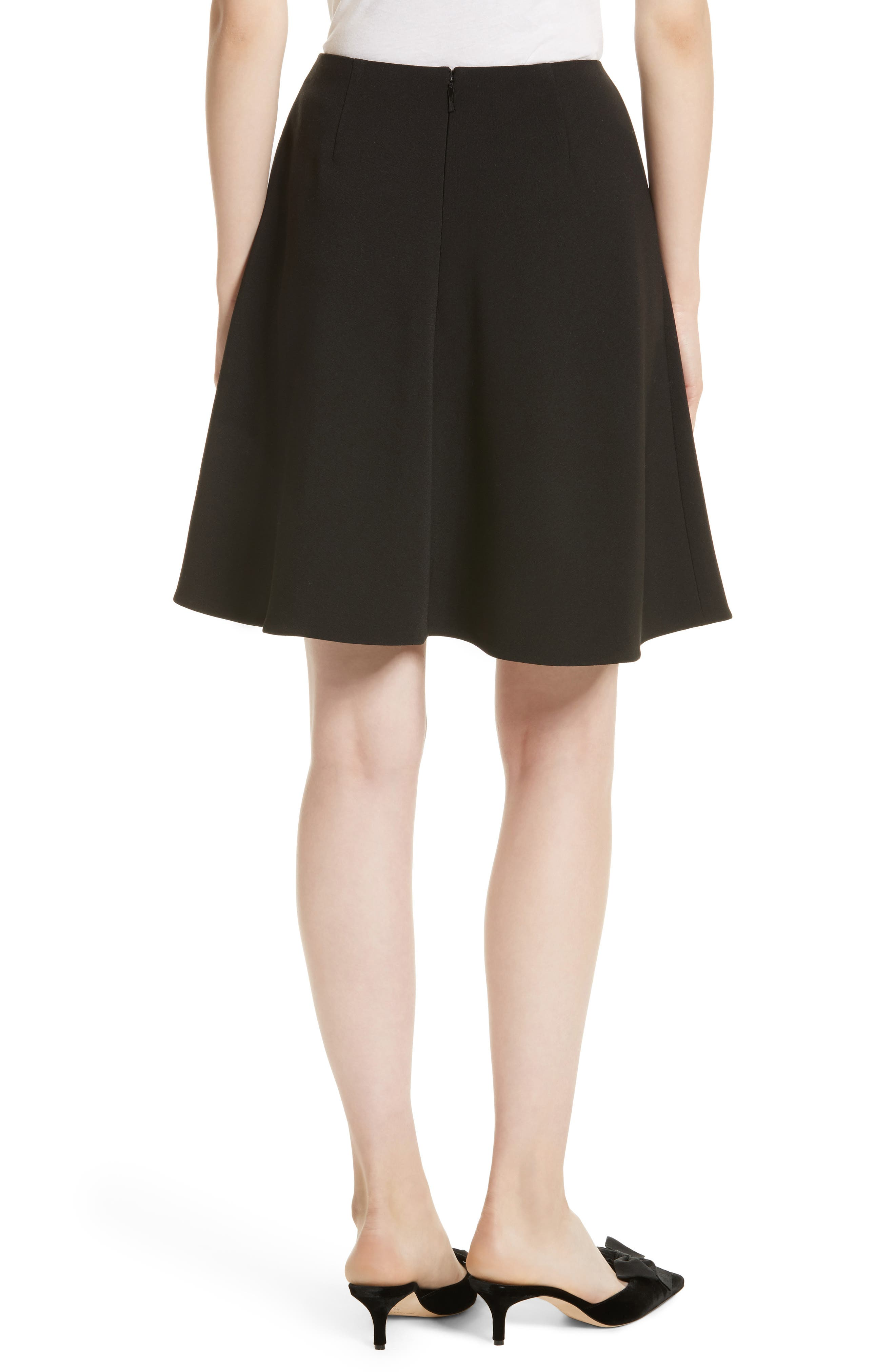 pearly button crepe skirt,                             Alternate thumbnail 2, color,                             001