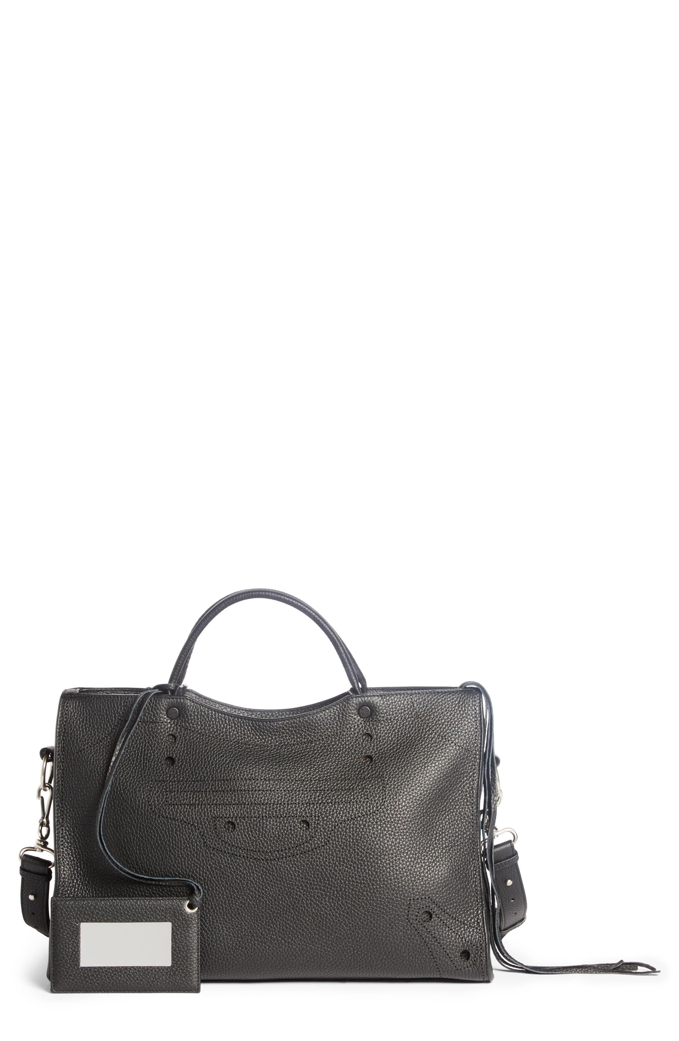 Blackout City Leather Tote,                         Main,                         color, 001