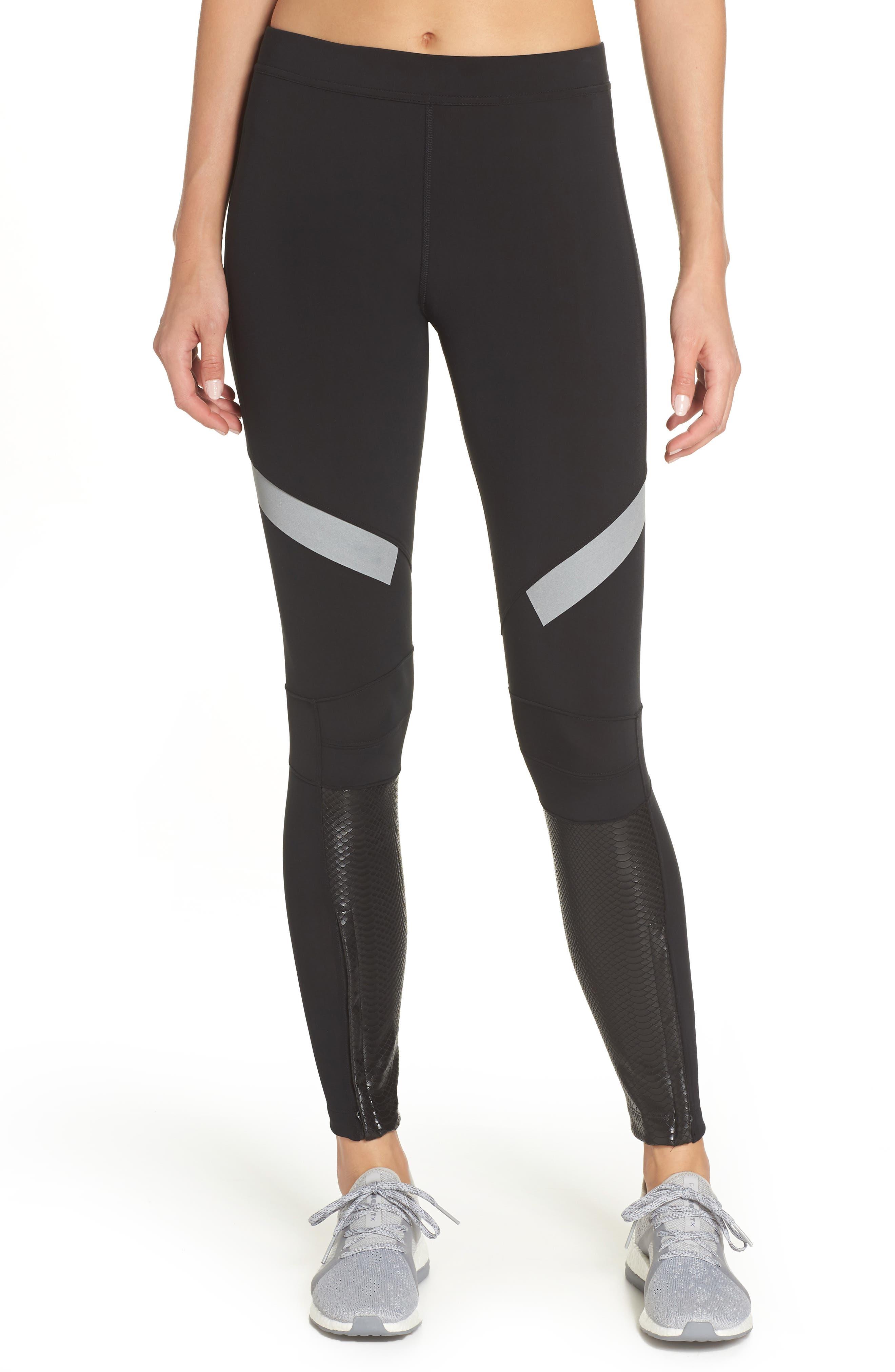 Run Climaheat Leggings,                         Main,                         color, BLACK
