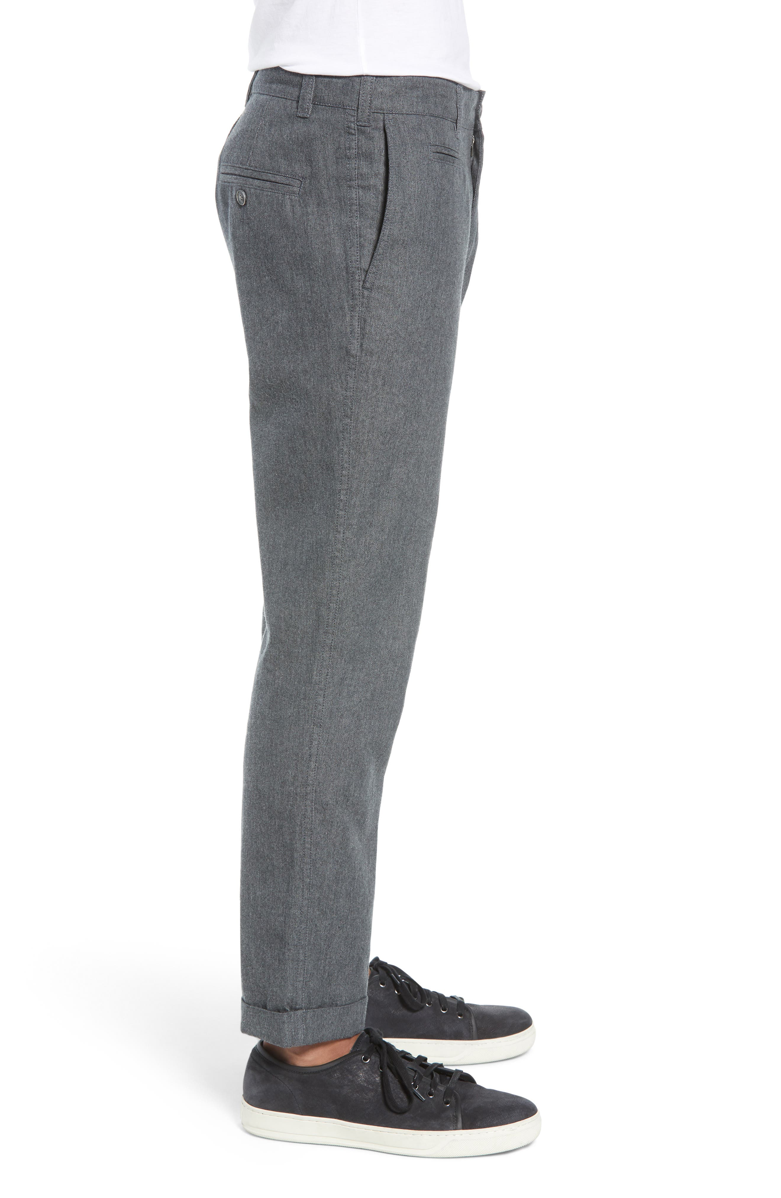 LIFE/AFTER/DENIM,                             Bixi Slim Cotton Twill Trousers,                             Alternate thumbnail 3, color,                             HEATHER CHARCOAL