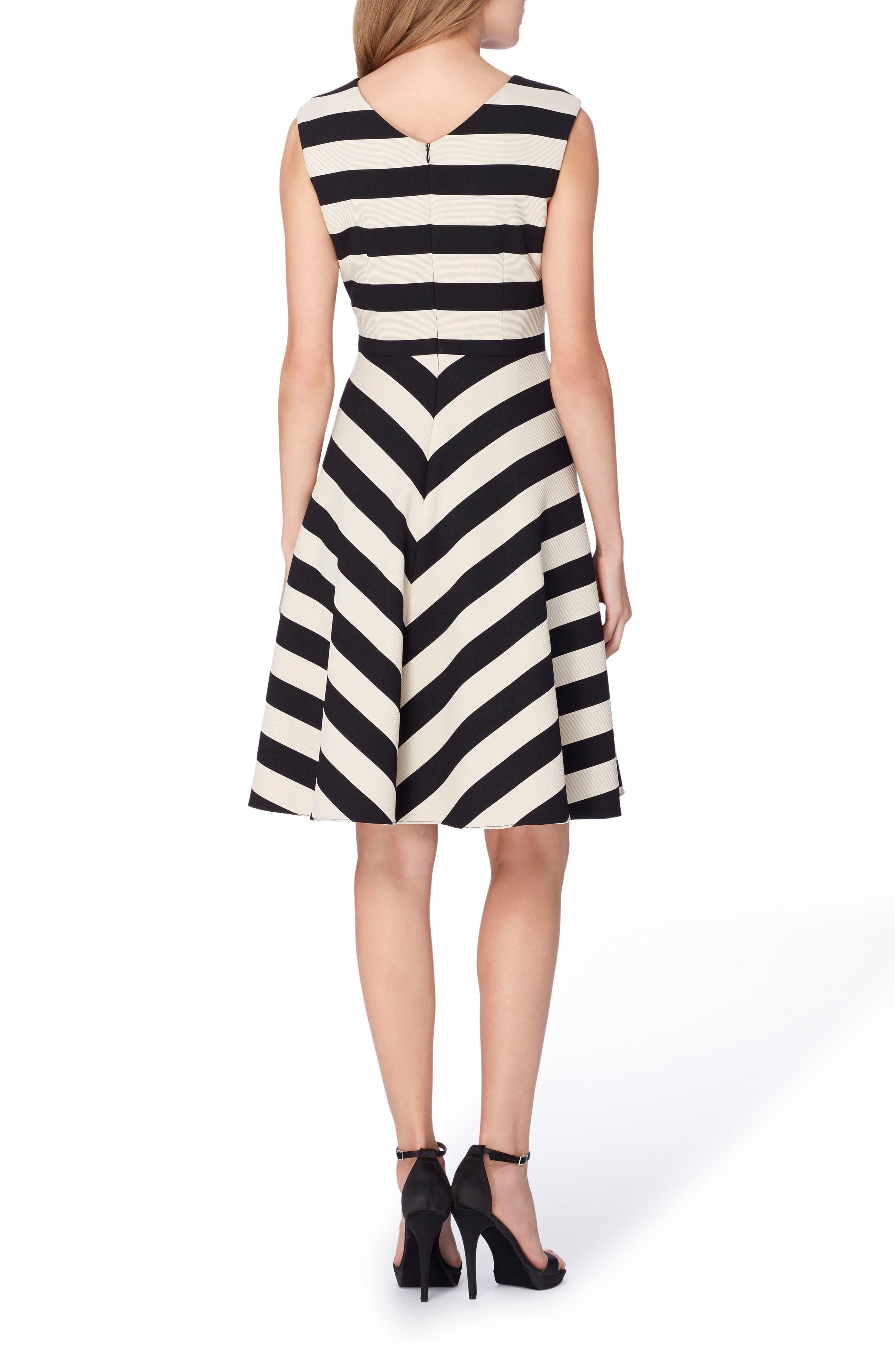 Stripe Scuba Fit & Flare Dress,                             Alternate thumbnail 2, color,                             001