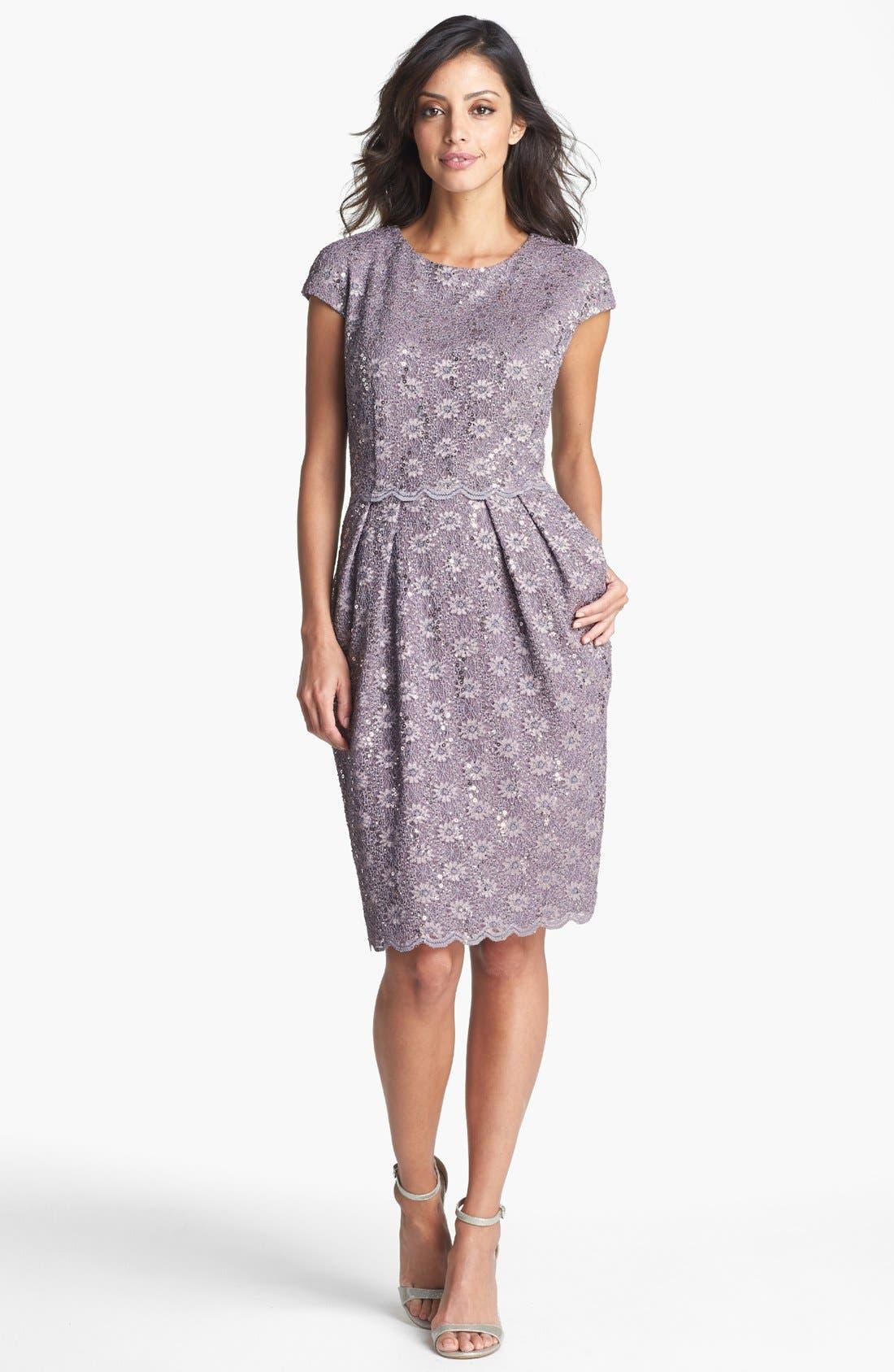 Sequin Lace Overlay Sheath Dress, Main, color, 031