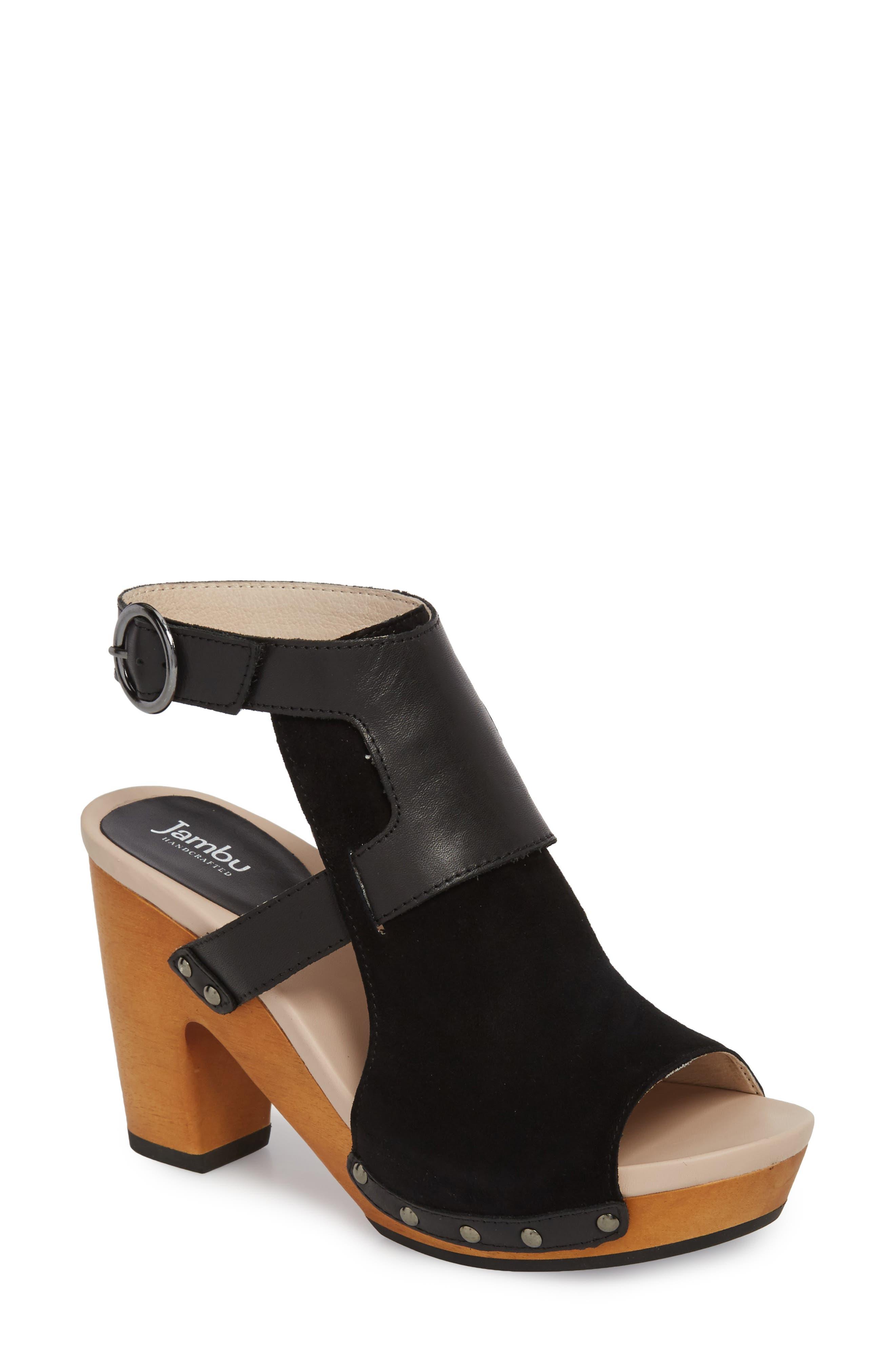 Gina Platform Sandal,                         Main,                         color, BLACK LEATHER