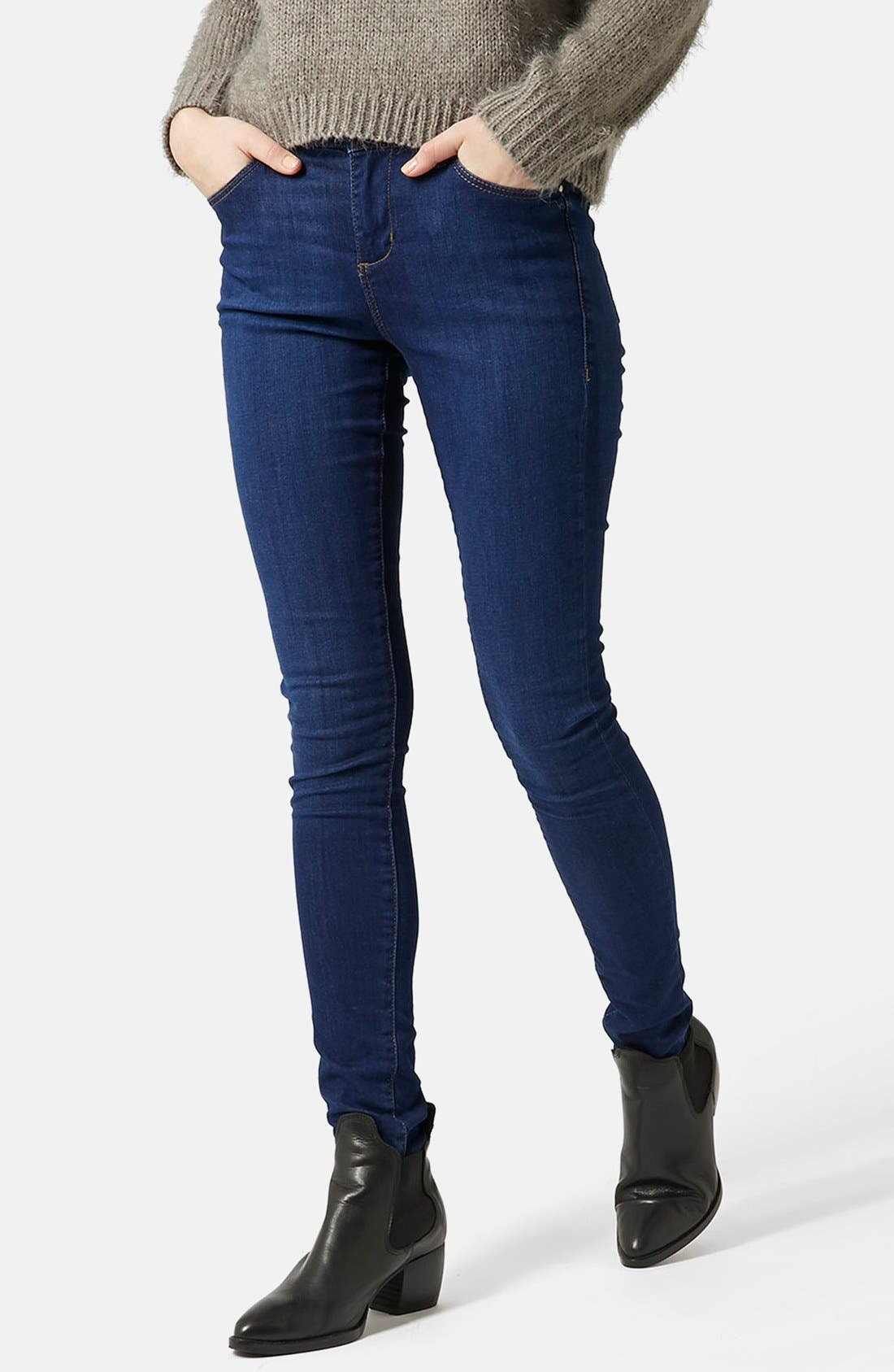 Moto 'Leigh' Ankle Skinny Jeans,                             Alternate thumbnail 3, color,                             410