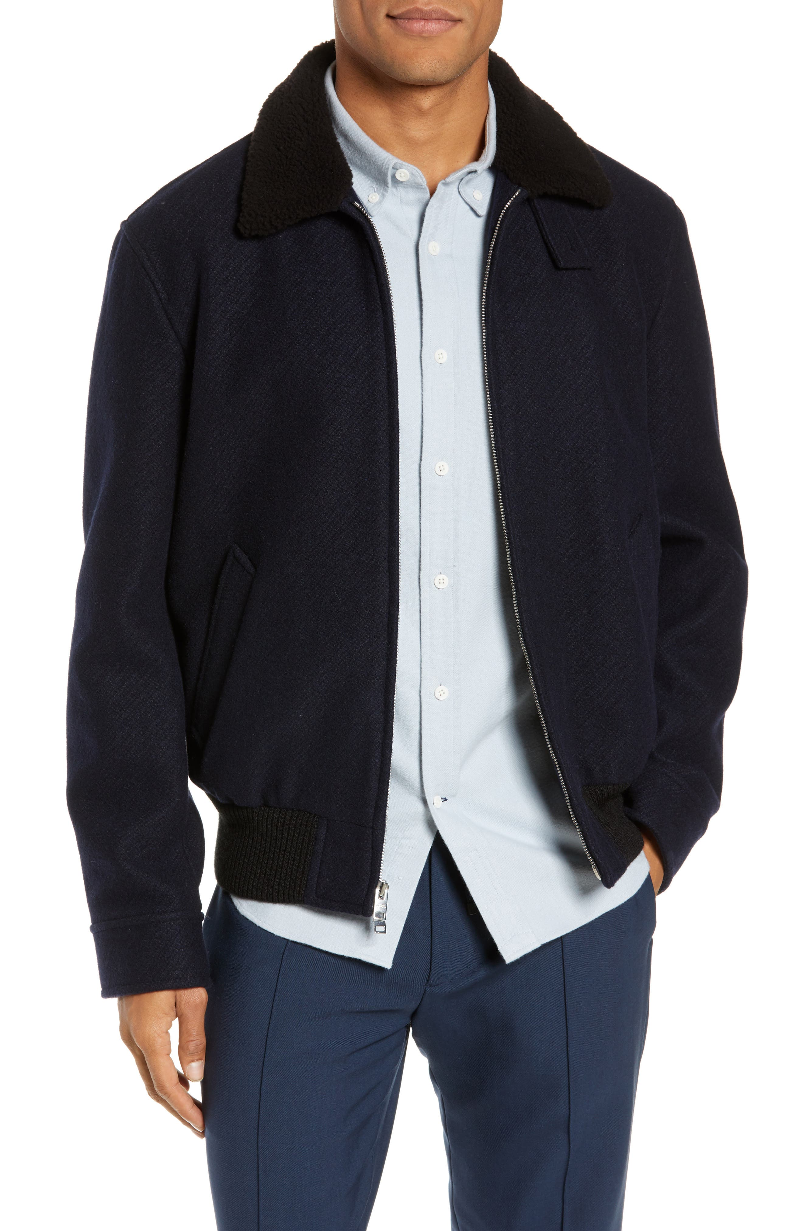 Trim Fit Bomber Jacket with Genuine Shearling Collar,                         Main,                         color, NAVY
