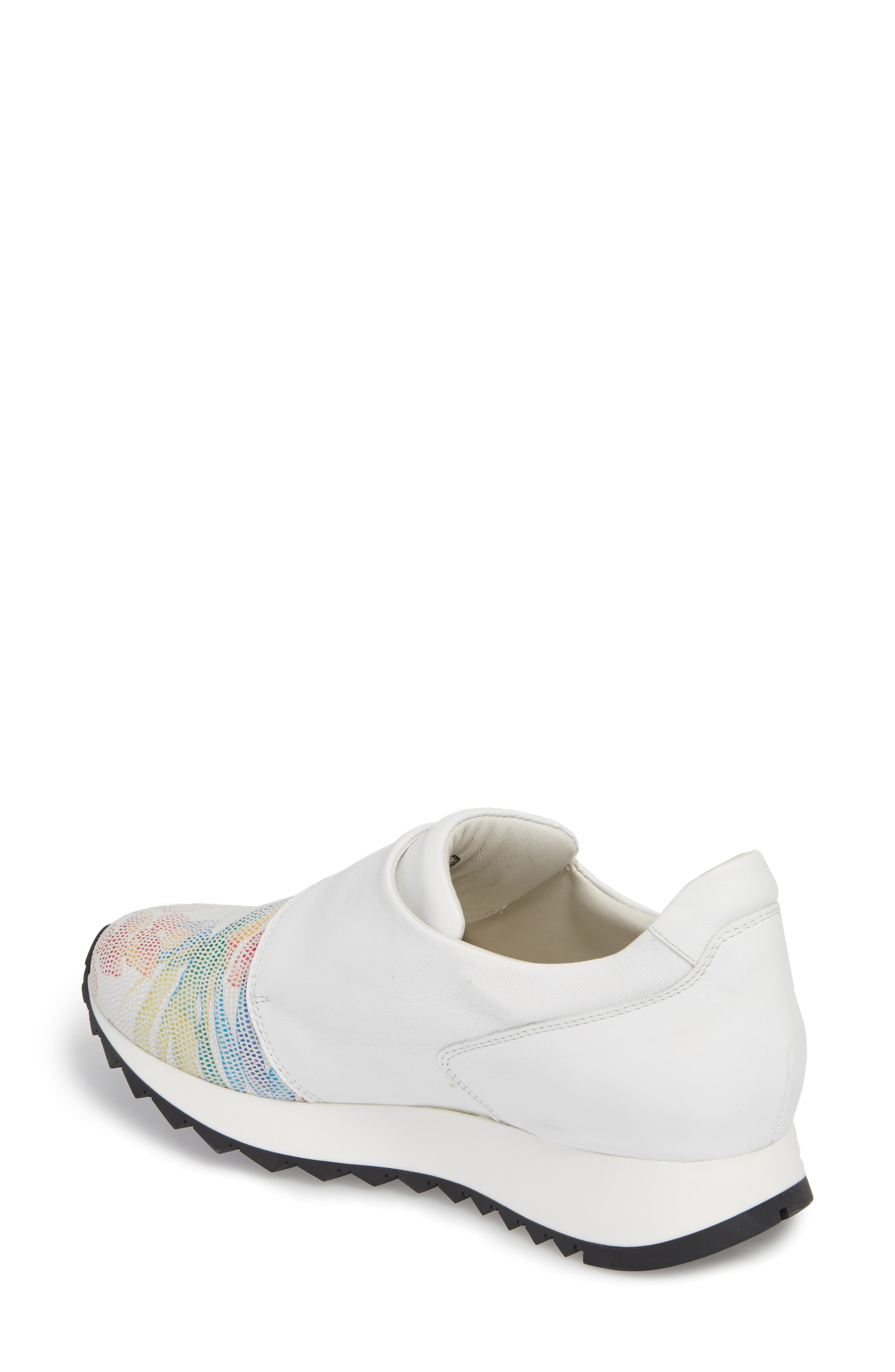 Danza Wedge Sneaker,                             Alternate thumbnail 2, color,                             WHITE LEATHER
