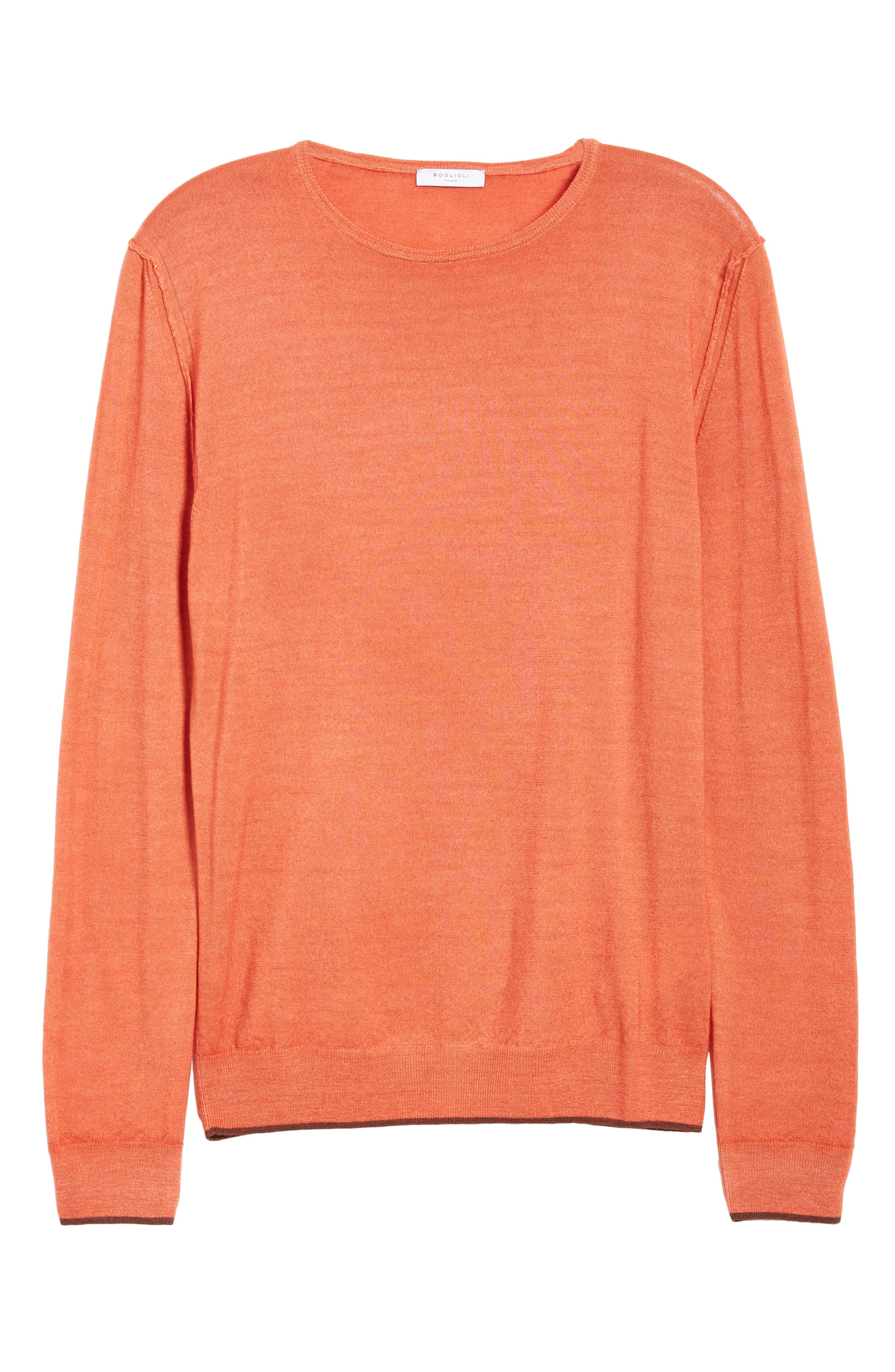 Trim Fit Crewneck Wool Sweater,                             Alternate thumbnail 6, color,                             ORANGE