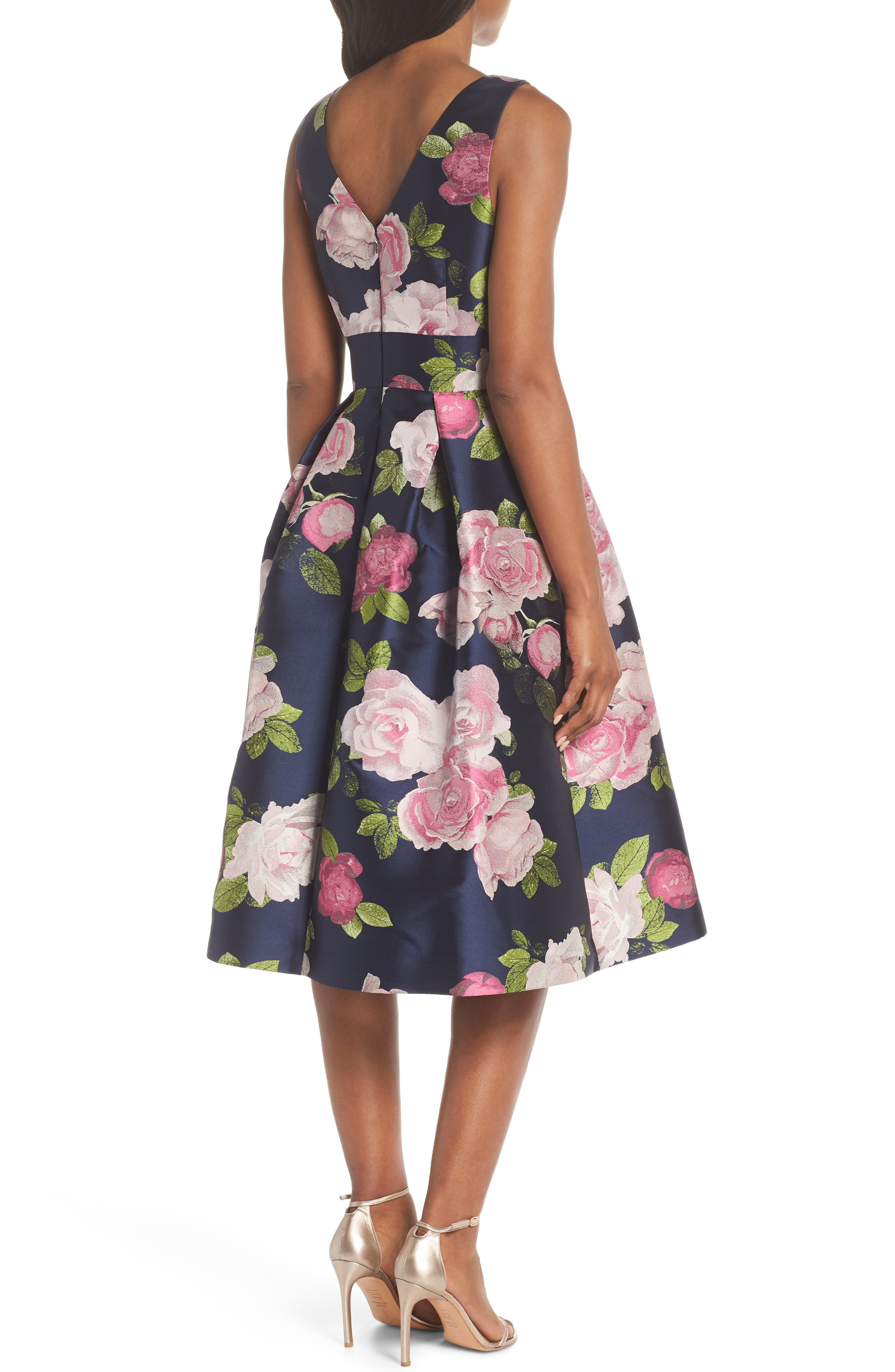 Sleeveless Floral Print Fit & Flare Dress,                             Alternate thumbnail 2, color,                             NAVY