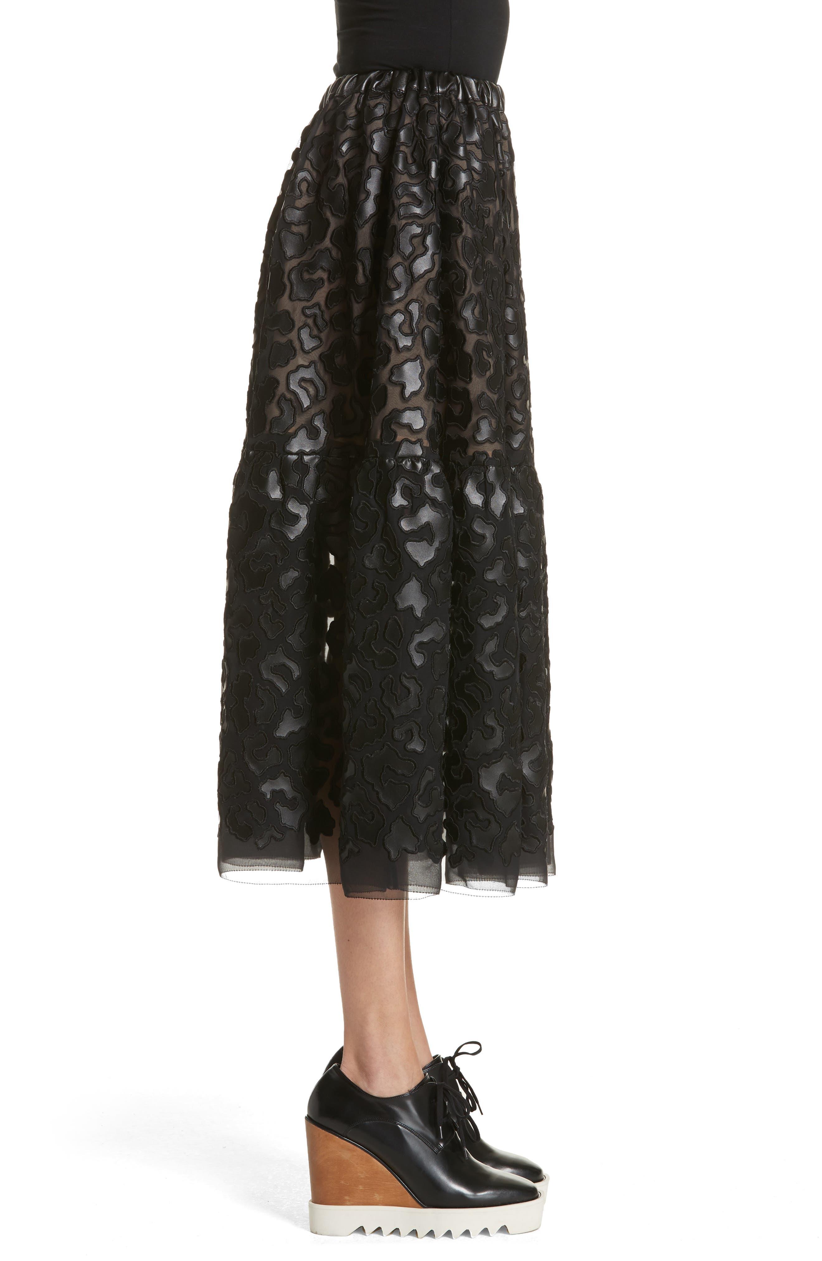 Faux Leather Leopard Print Skirt,                             Alternate thumbnail 3, color,