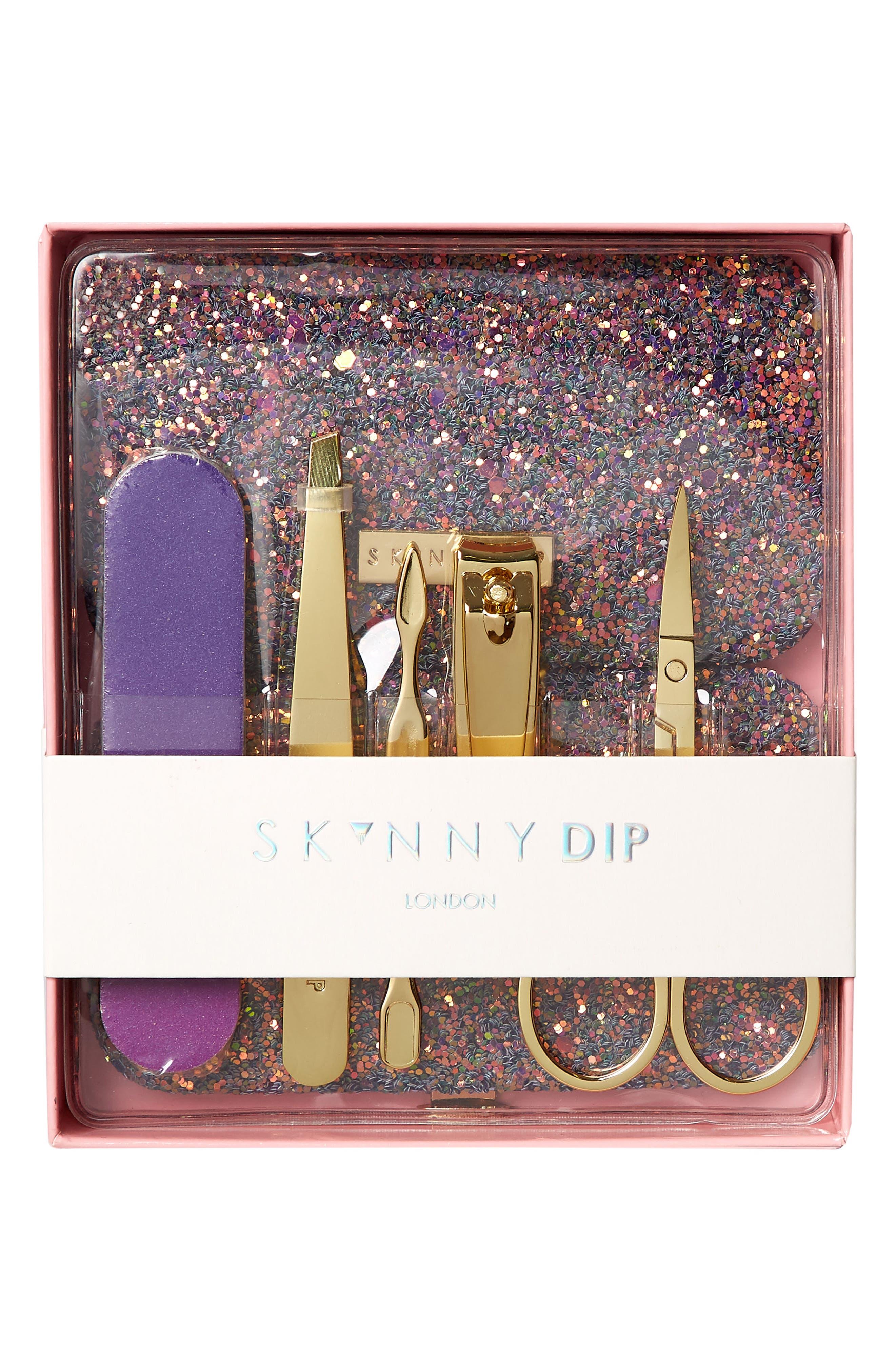 SKINNYDIP,                             Bliss Purple + Gold Manicure Set,                             Alternate thumbnail 2, color,                             500