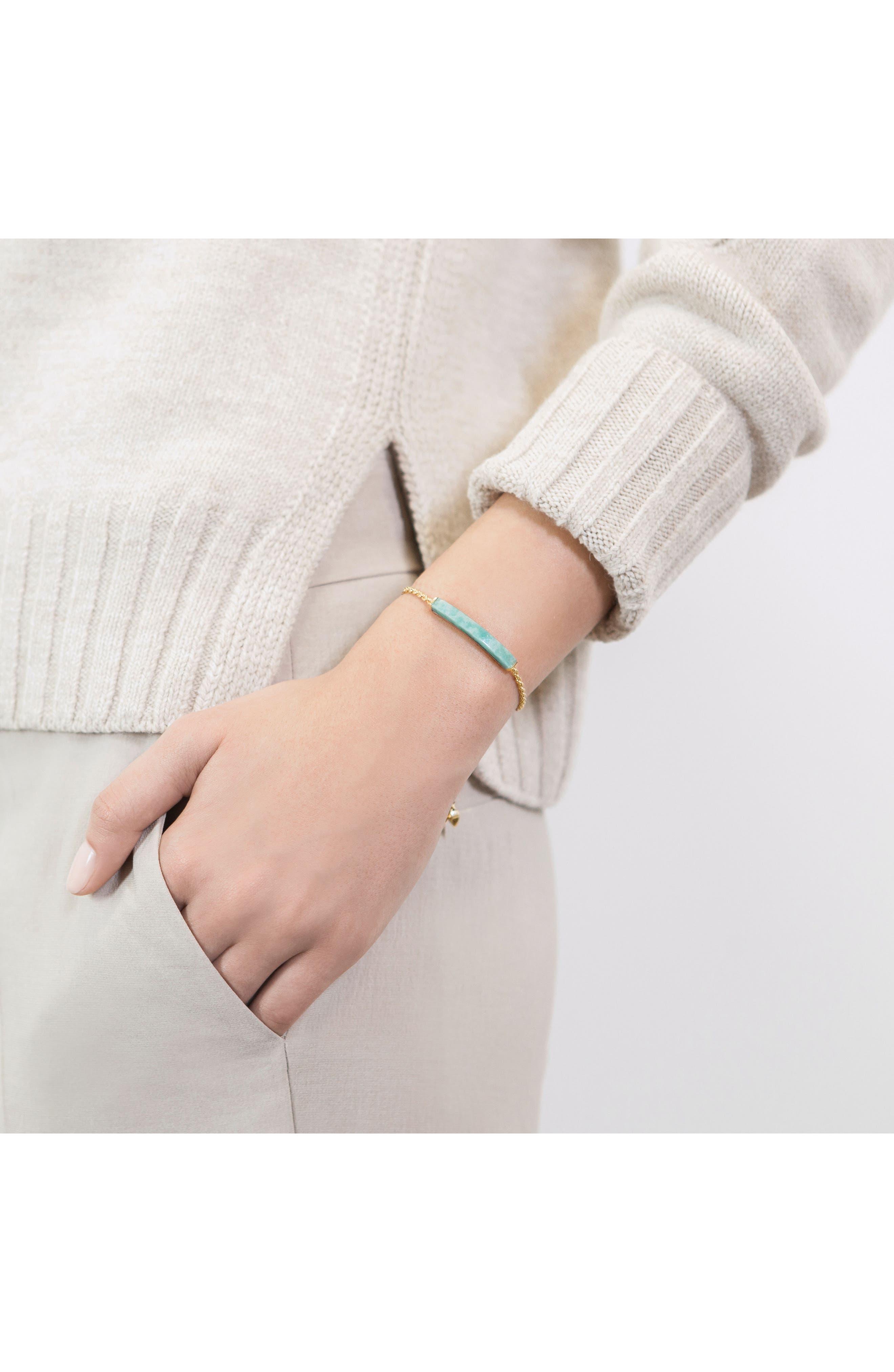Linear Semiprecious Stone Friendship Bracelet,                             Alternate thumbnail 2, color,                             GOLD/ AMAZONITE
