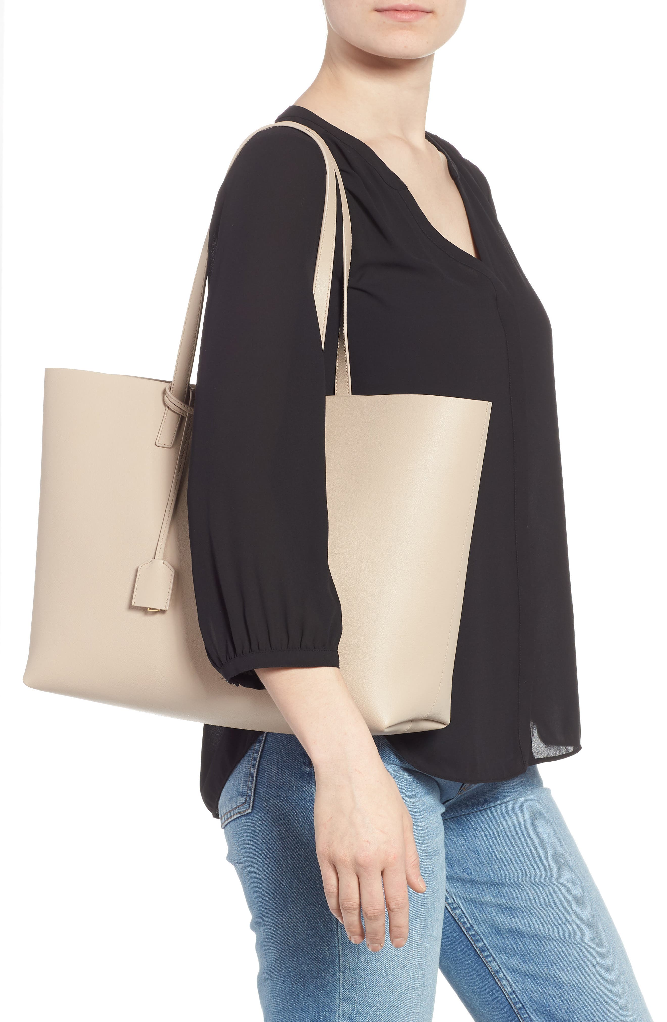'Shopping' Leather Tote,                             Alternate thumbnail 2, color,                             CREMASOFT