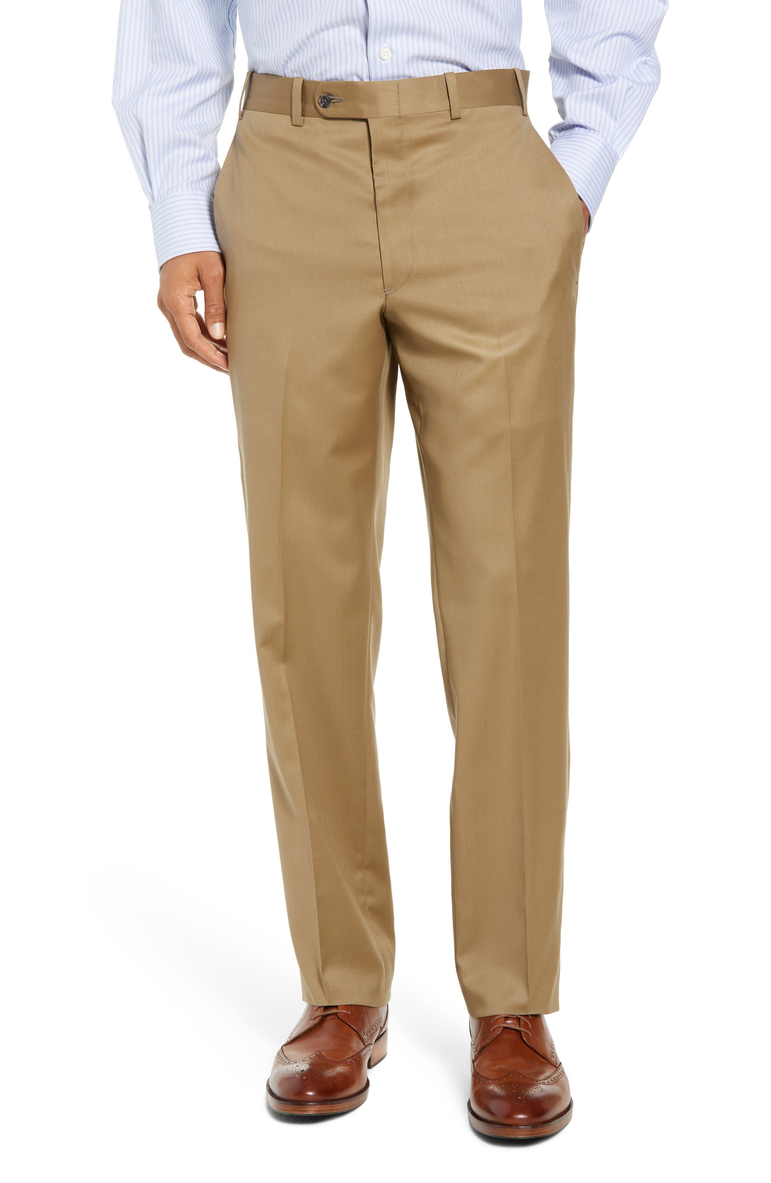 Torino Flat Front Wool Gabardine Trousers,                             Main thumbnail 4, color,