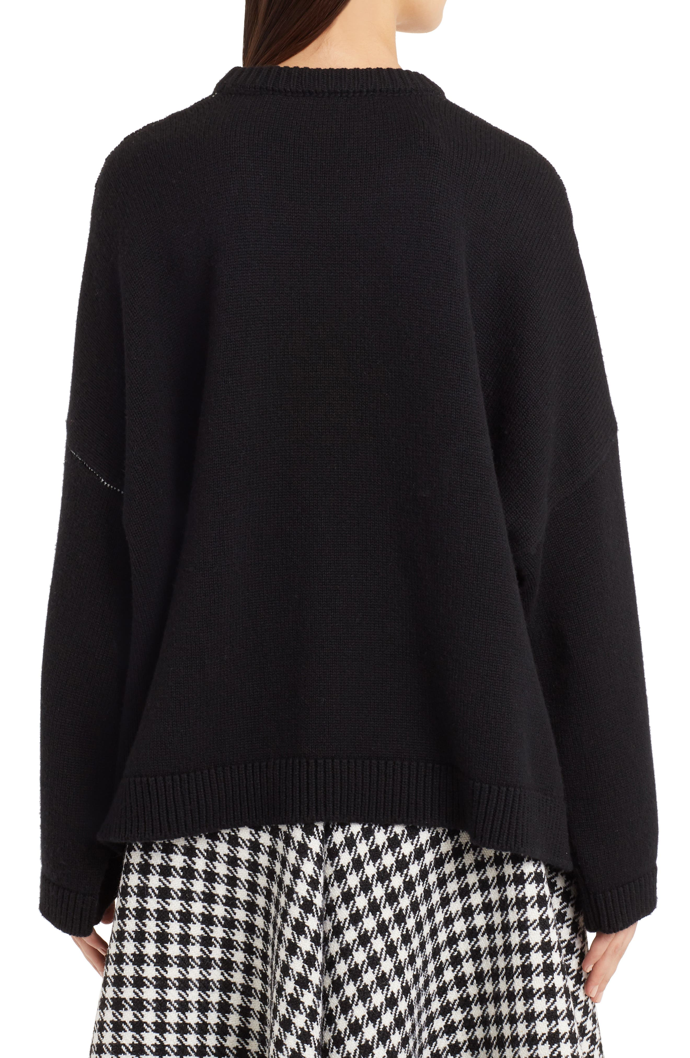 DOLCE&GABBANA,                             Intarsia Logo Cashmere Sweater,                             Alternate thumbnail 2, color,                             BLACK