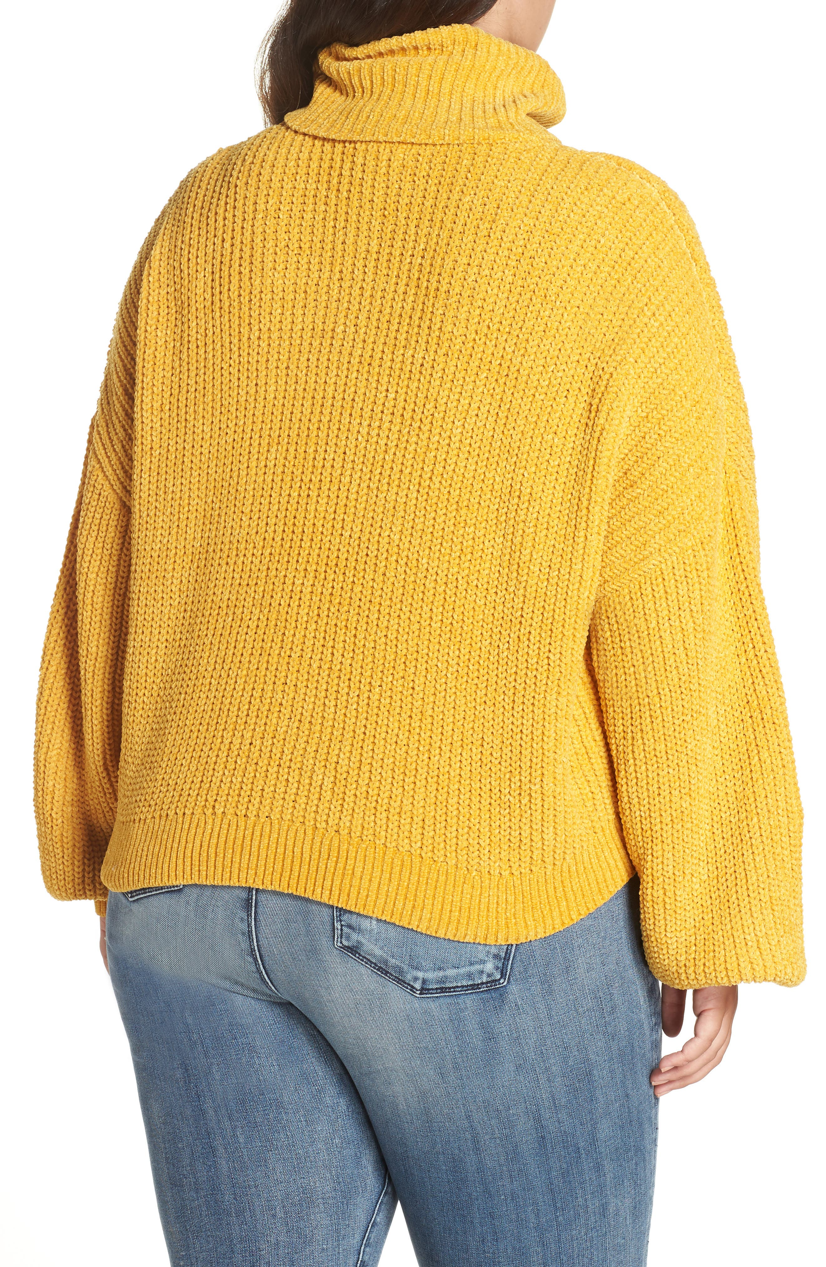 Cable Knit Chenille Sweater,                             Alternate thumbnail 2, color,                             YELLOW MINERAL