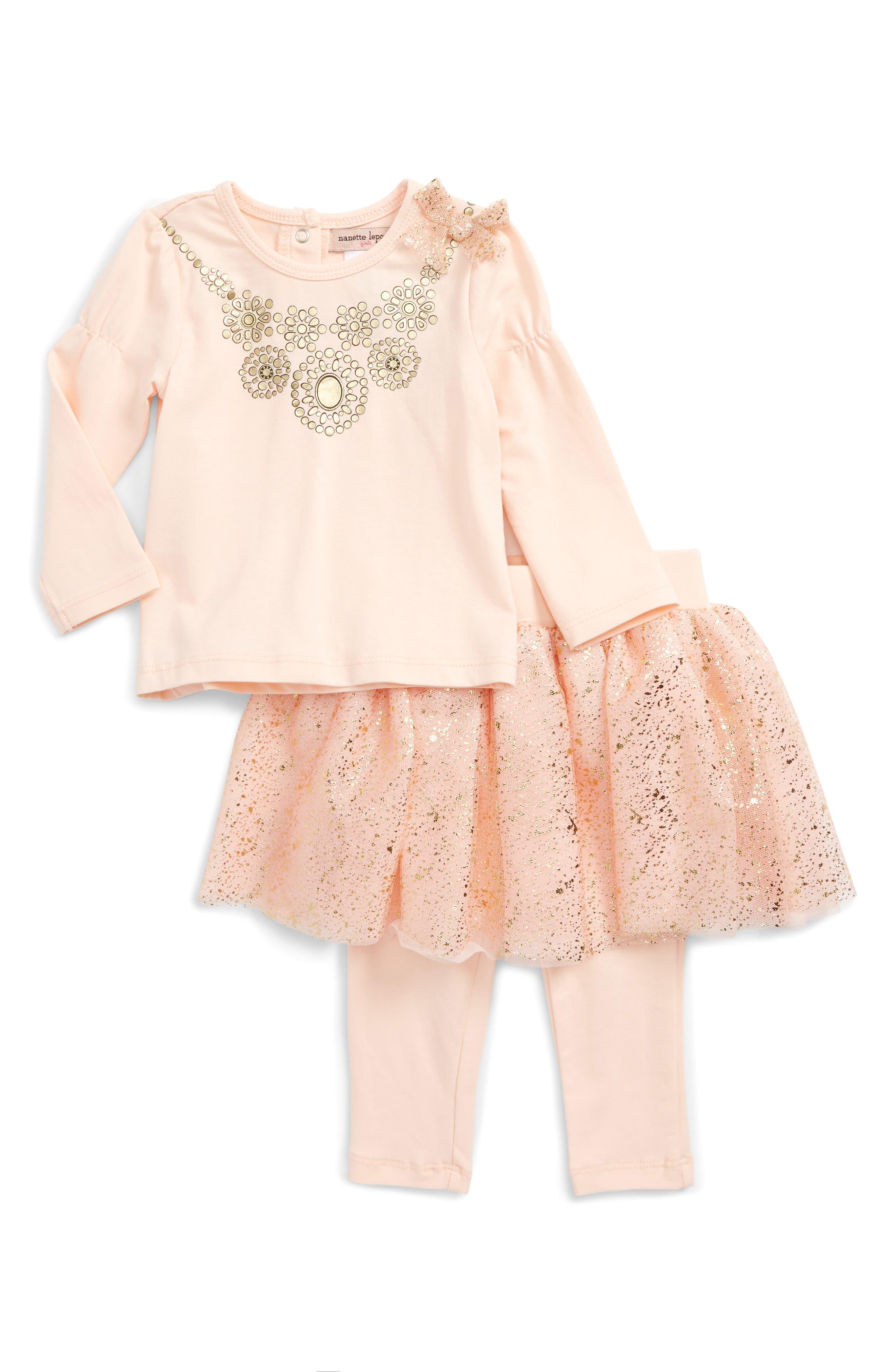 Tee & Skirt Set,                         Main,                         color, 680