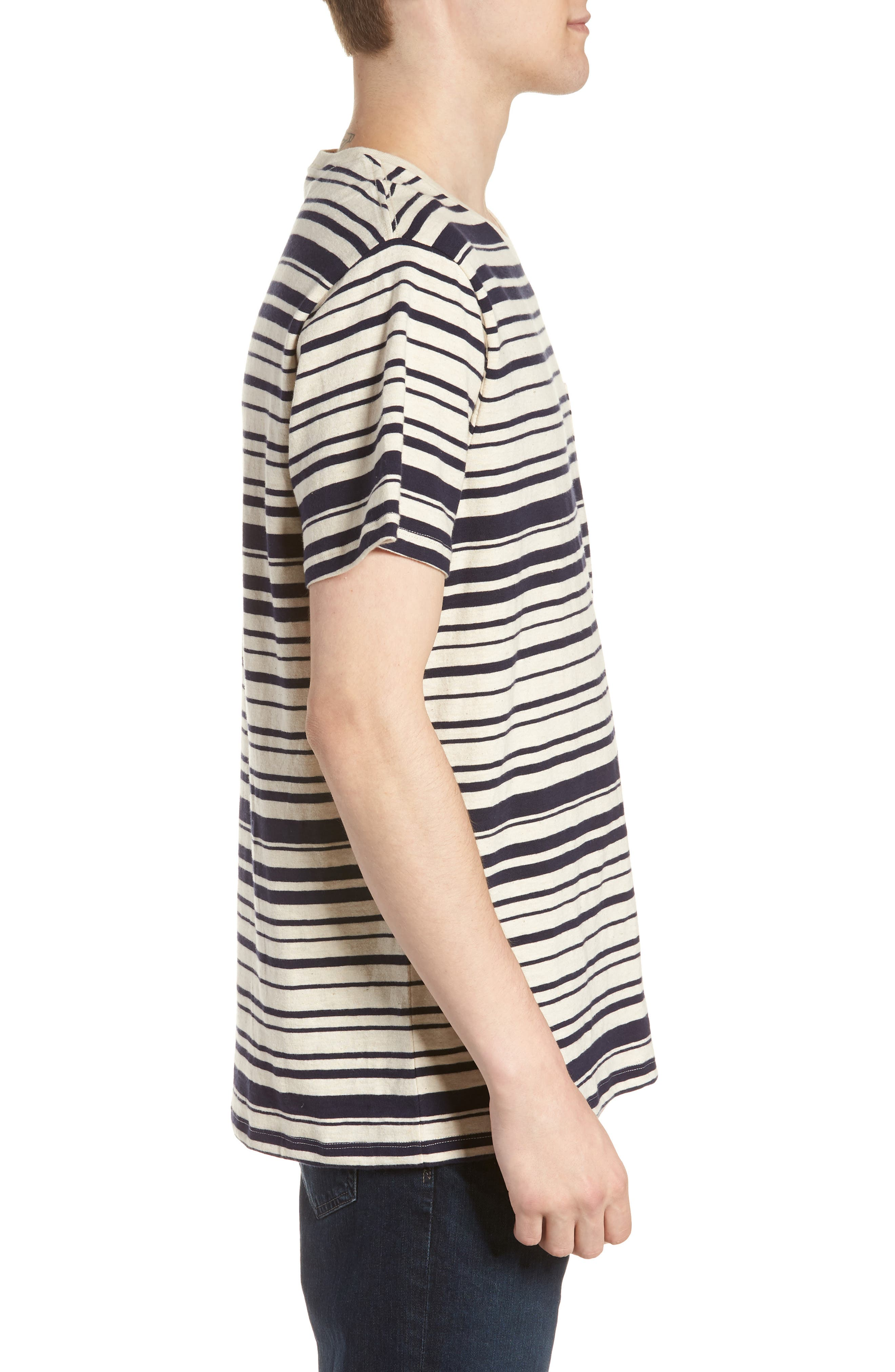 Variegated Stripe Slub Cotton T-Shirt,                             Alternate thumbnail 3, color,