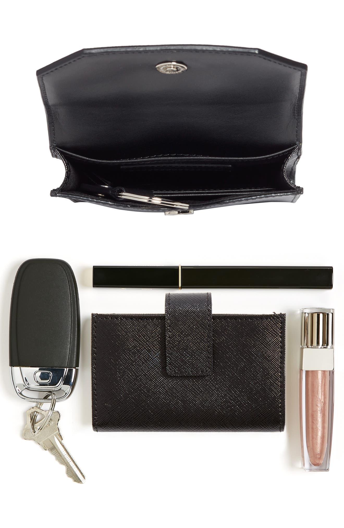 Leather Phone Crossbody Bag,                             Alternate thumbnail 7, color,                             BLACK