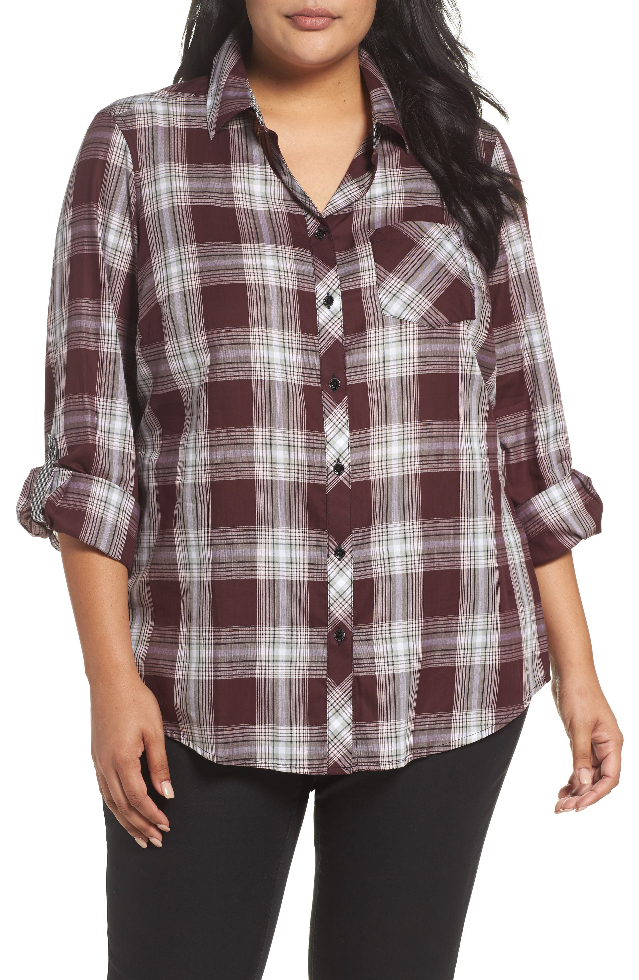 Addison Plaid Cotton Shirt,                             Main thumbnail 1, color,                             605