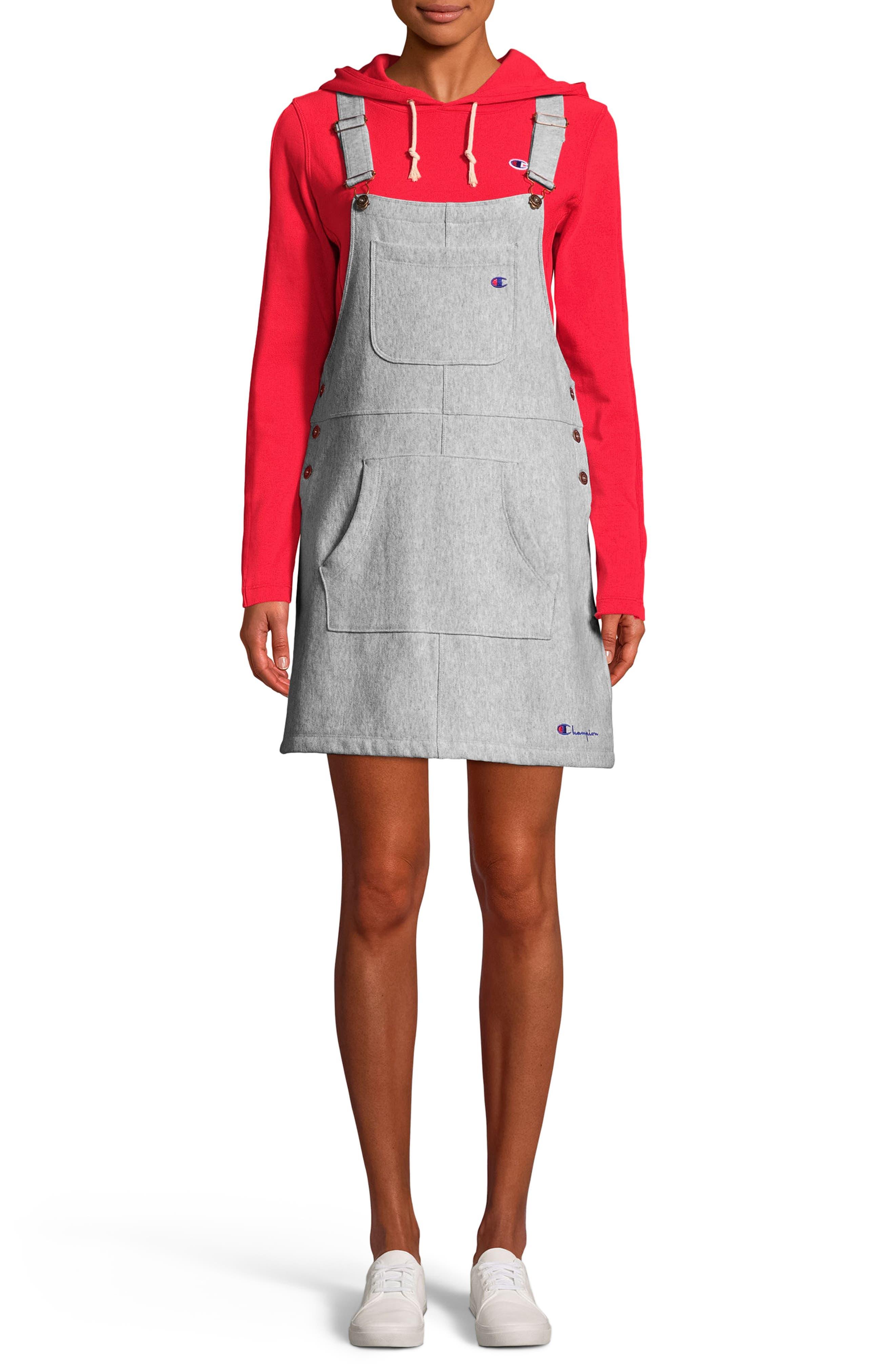Reverse Weave<sup>®</sup> Pinafore Dress,                             Main thumbnail 1, color,                             021