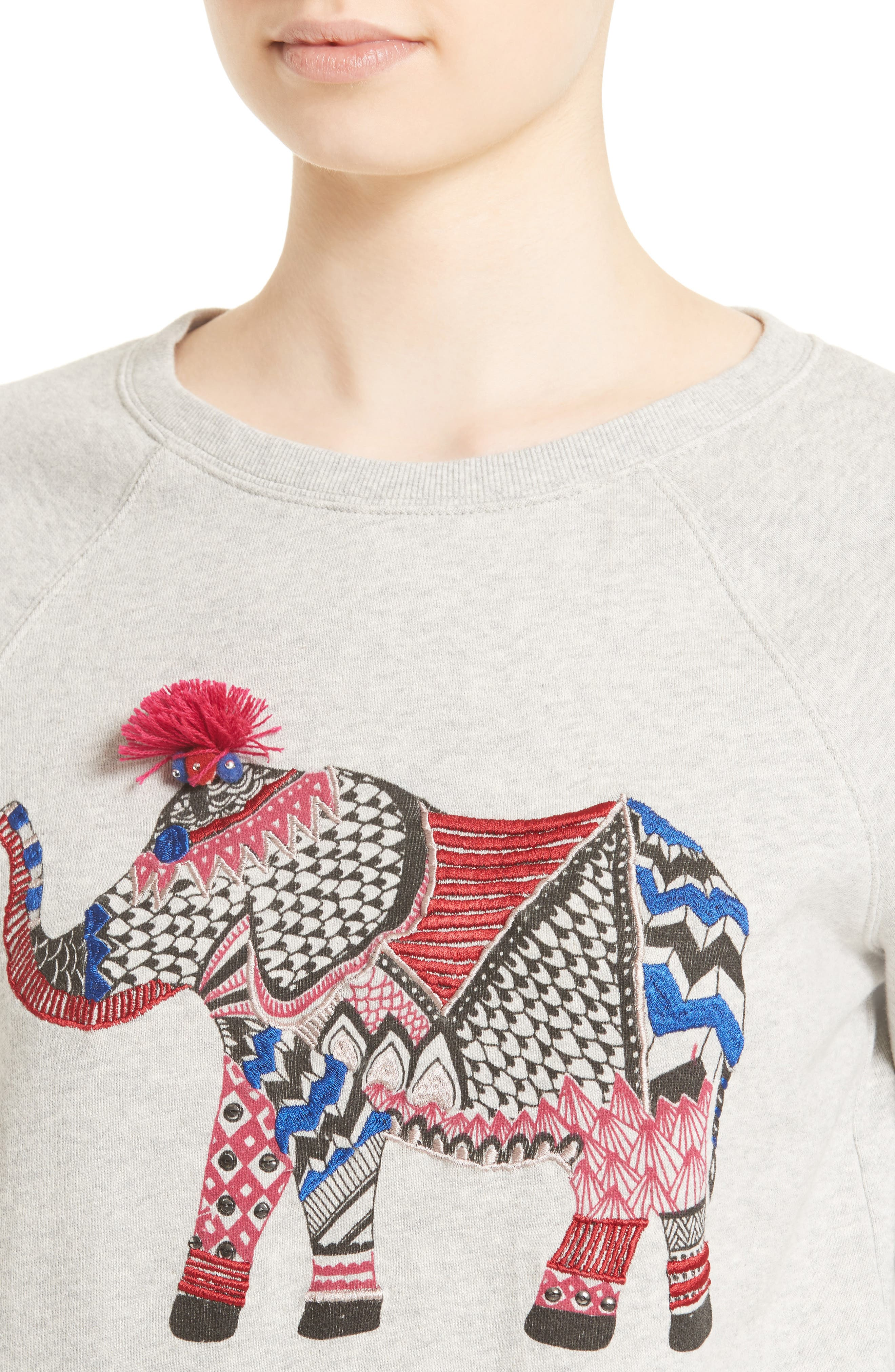 SOFT JOIE,                             Annora Embroidered Elephant Sweatshirt,                             Alternate thumbnail 4, color,                             099