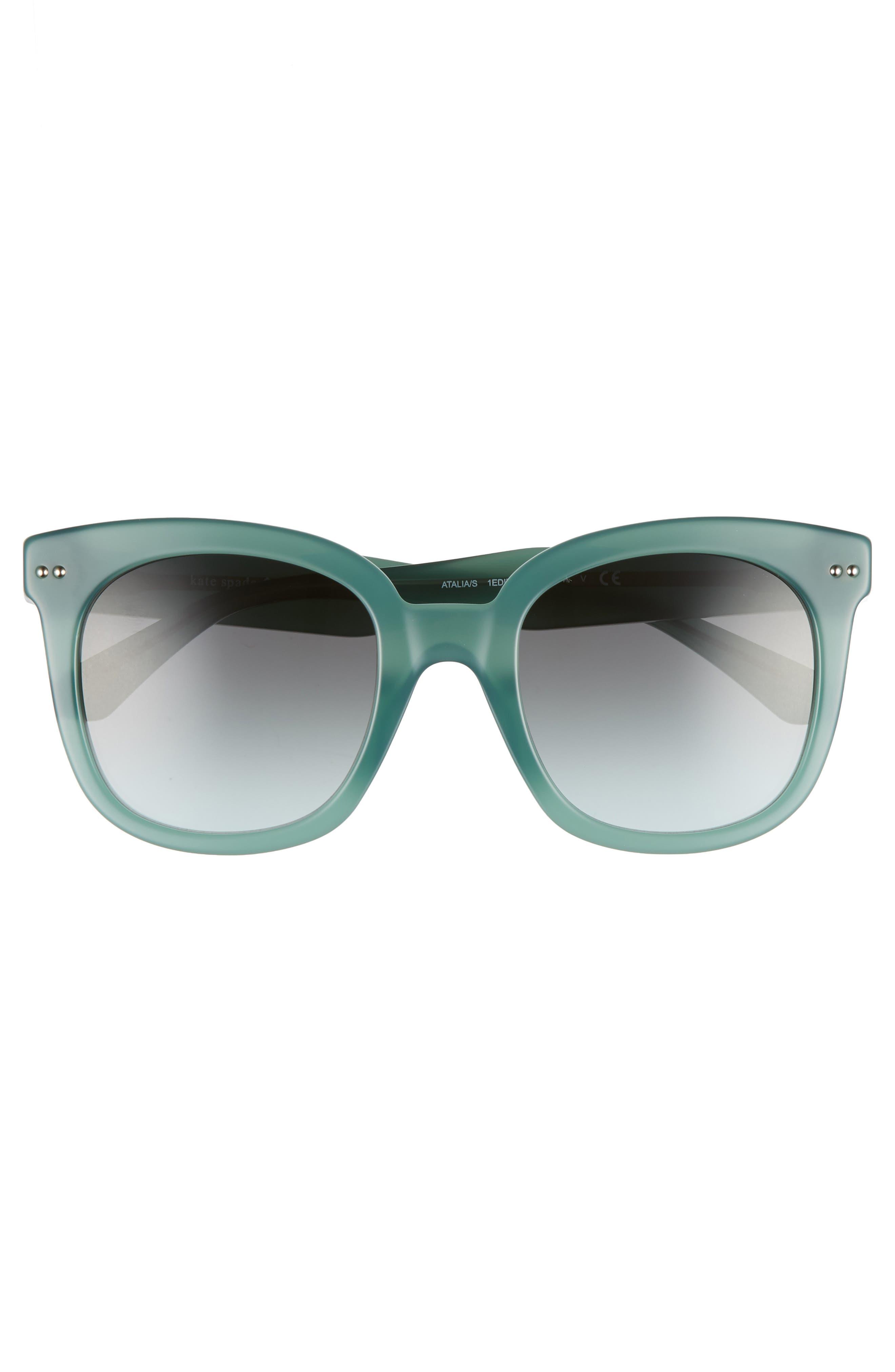 atalias 52mm square sunglasses,                             Alternate thumbnail 3, color,                             GREEN