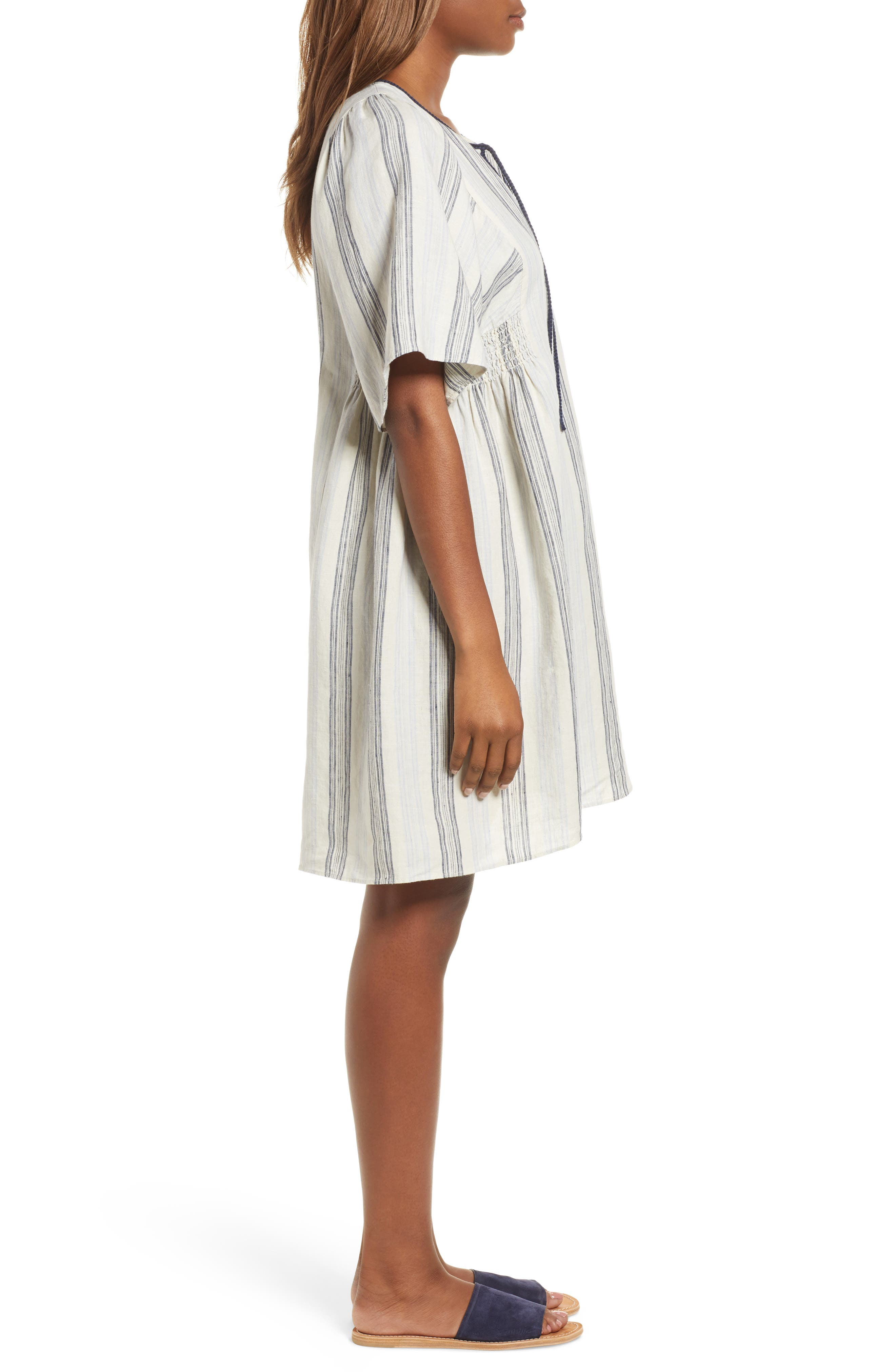 Stripe Linen Keyhole Shift Dress,                             Alternate thumbnail 3, color,                             250