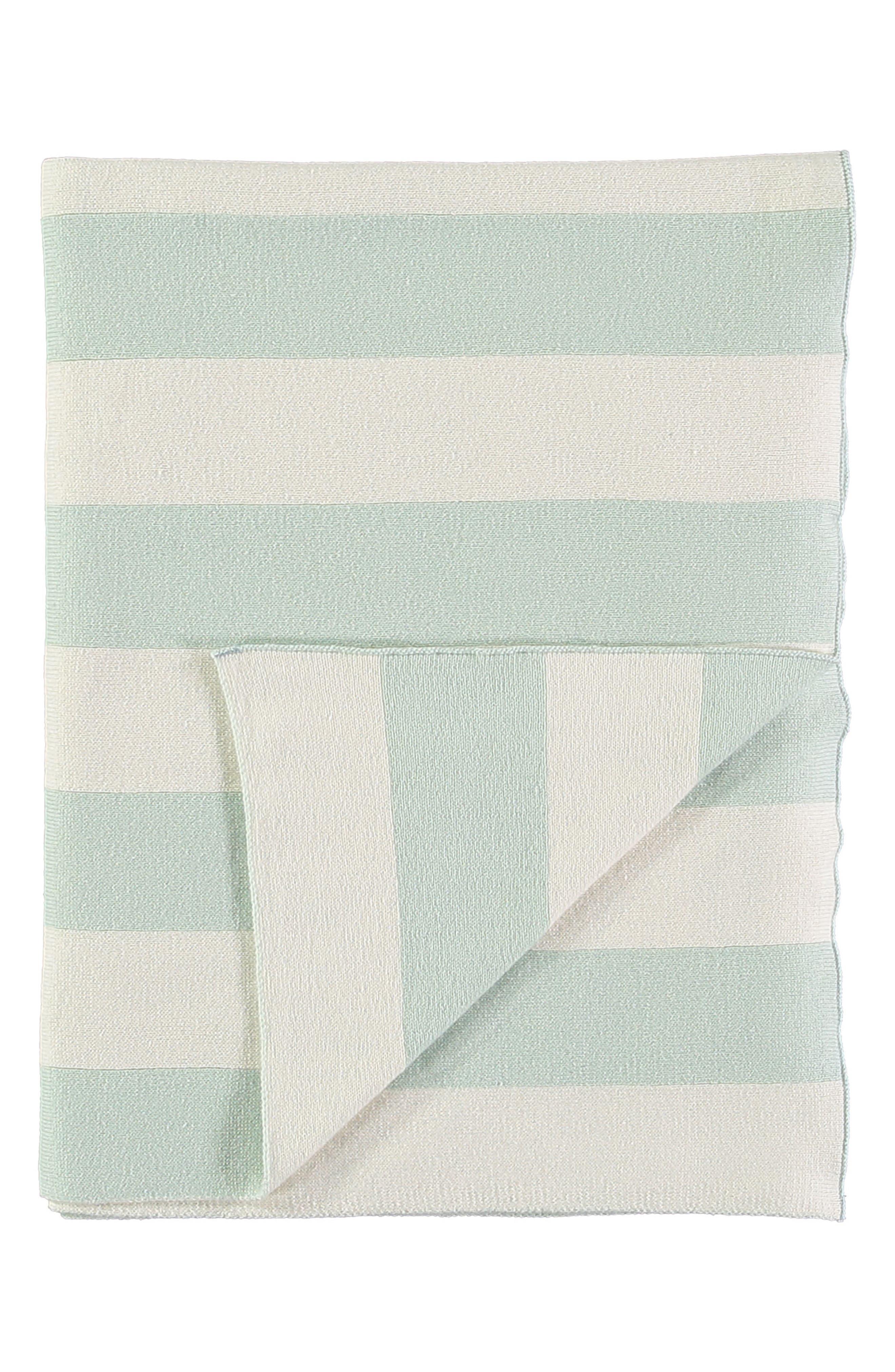 Organic Cotton Knit Blanket,                             Main thumbnail 1, color,                             MINT