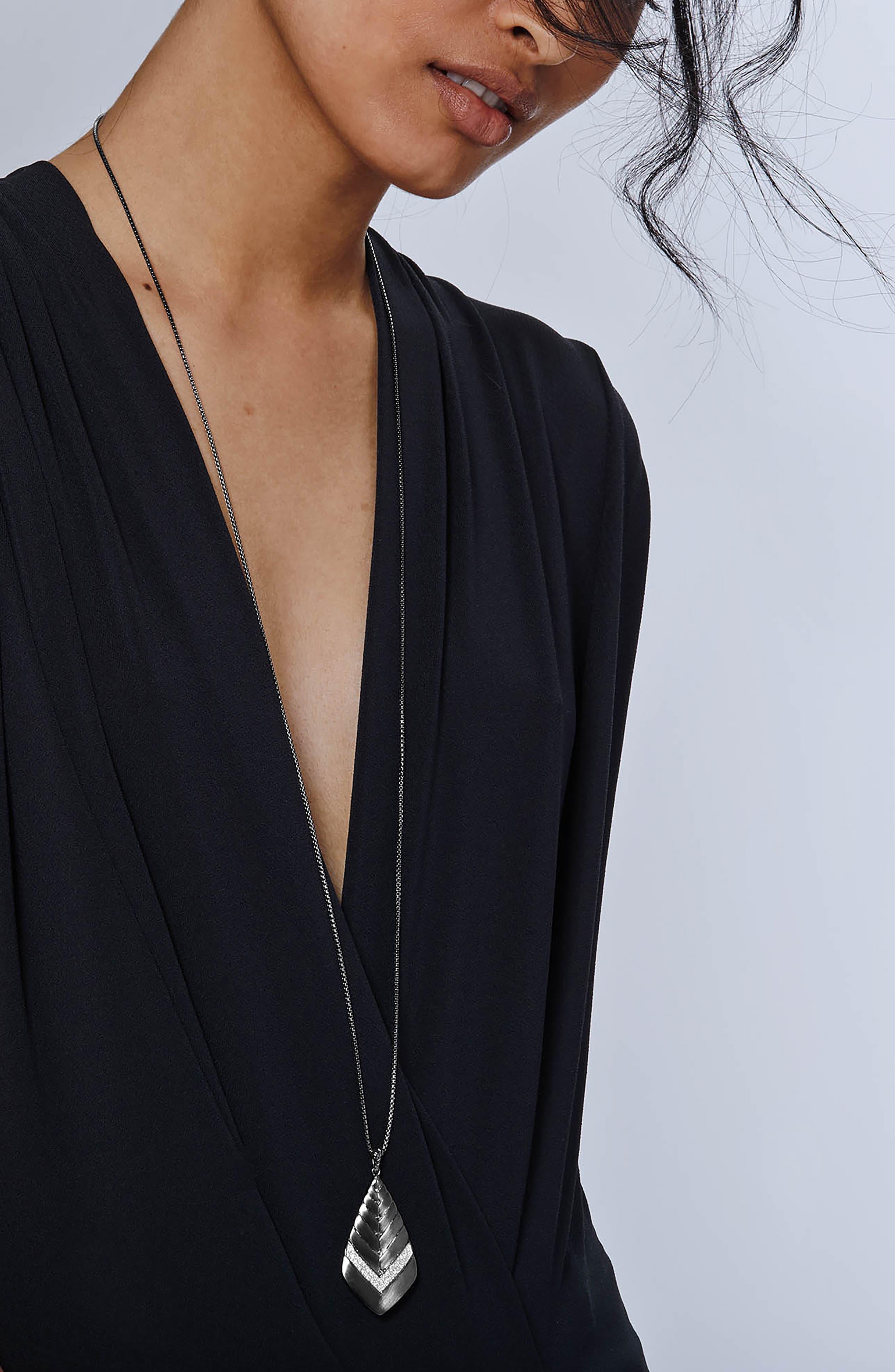 Modern Chain Long Diamond Pavé Pendant Necklace, Main, color, Black Rhodium/ Sterling Silver