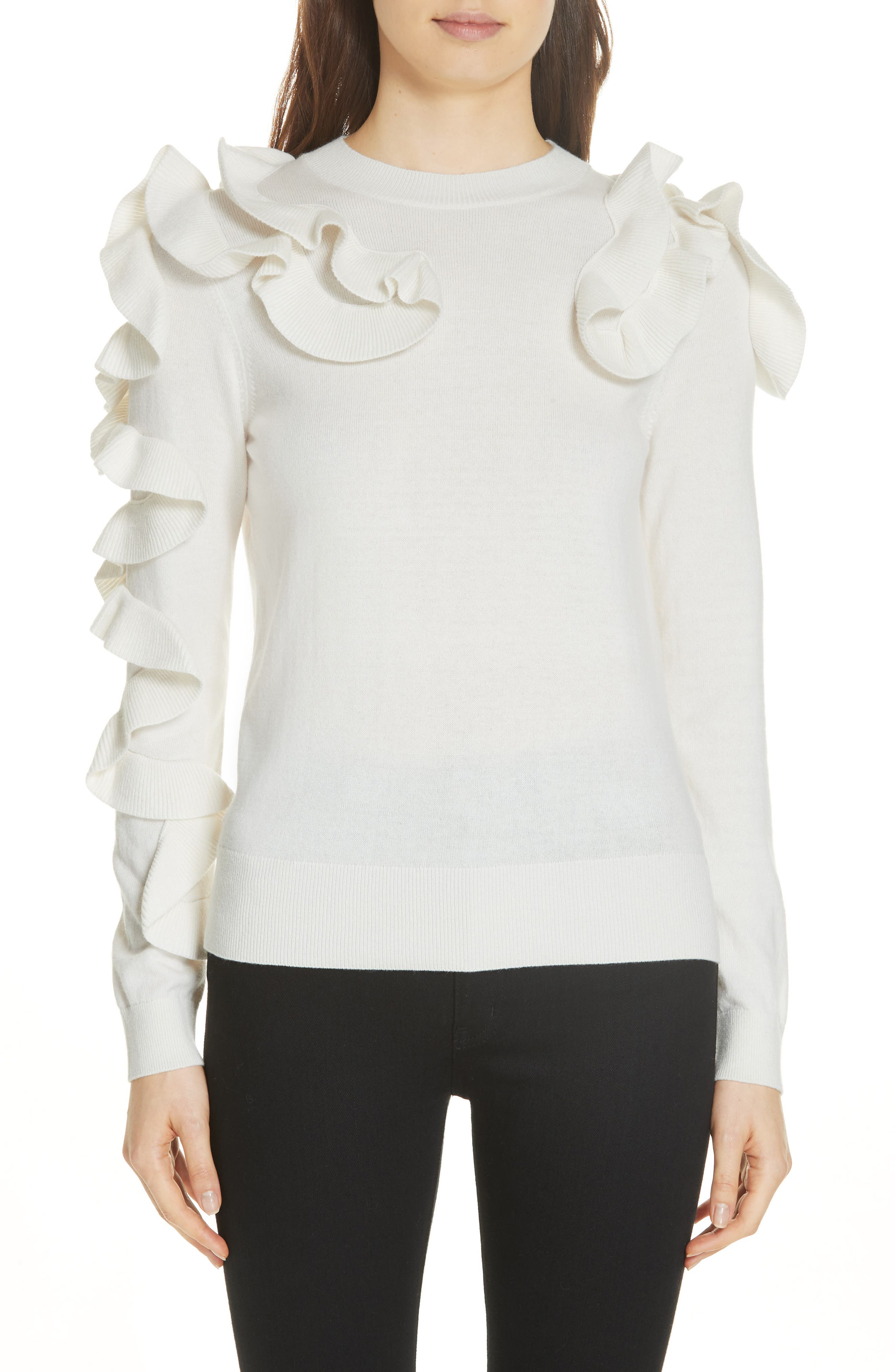 Pallege Frill Sleeve Wool Blend Sweater,                             Main thumbnail 1, color,                             905