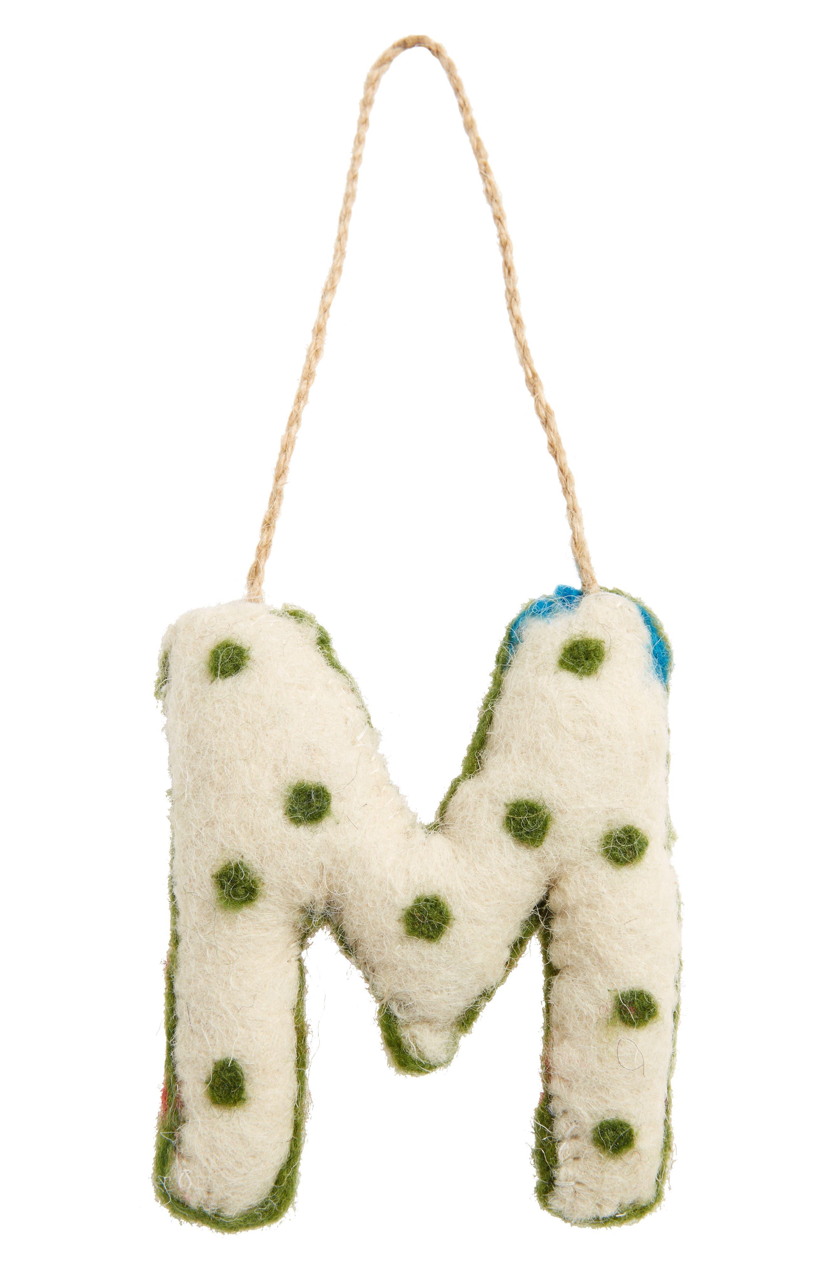 Global Folk Wool Monogram Ornament,                             Alternate thumbnail 35, color,