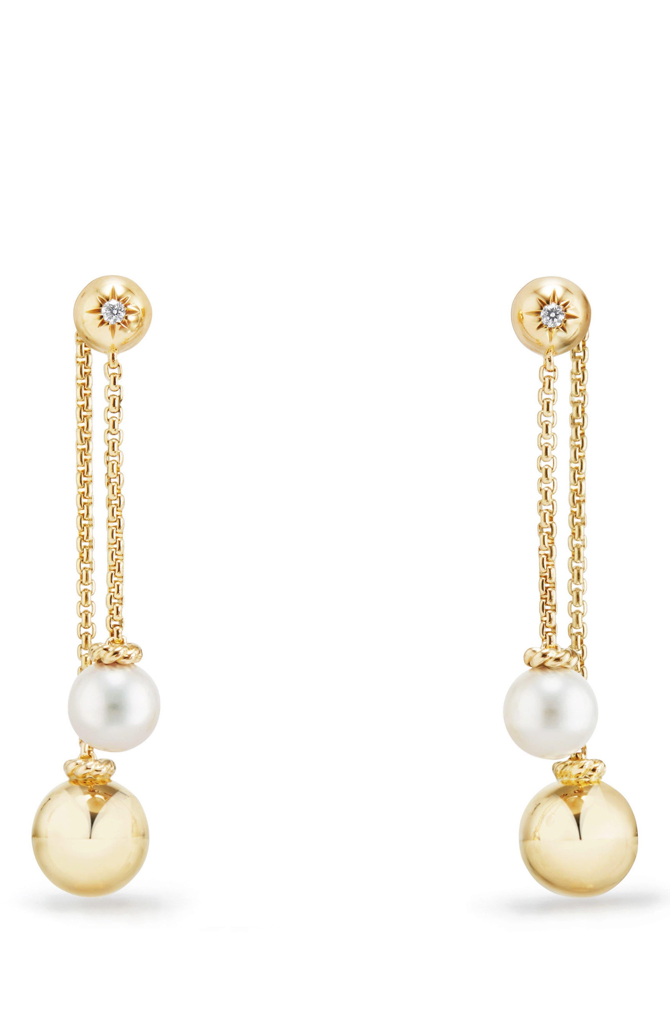 DAVID YURMAN,                             Solari Chain Drop Earrings with Diamonds in 18K Gold,                             Main thumbnail 1, color,                             PEARL