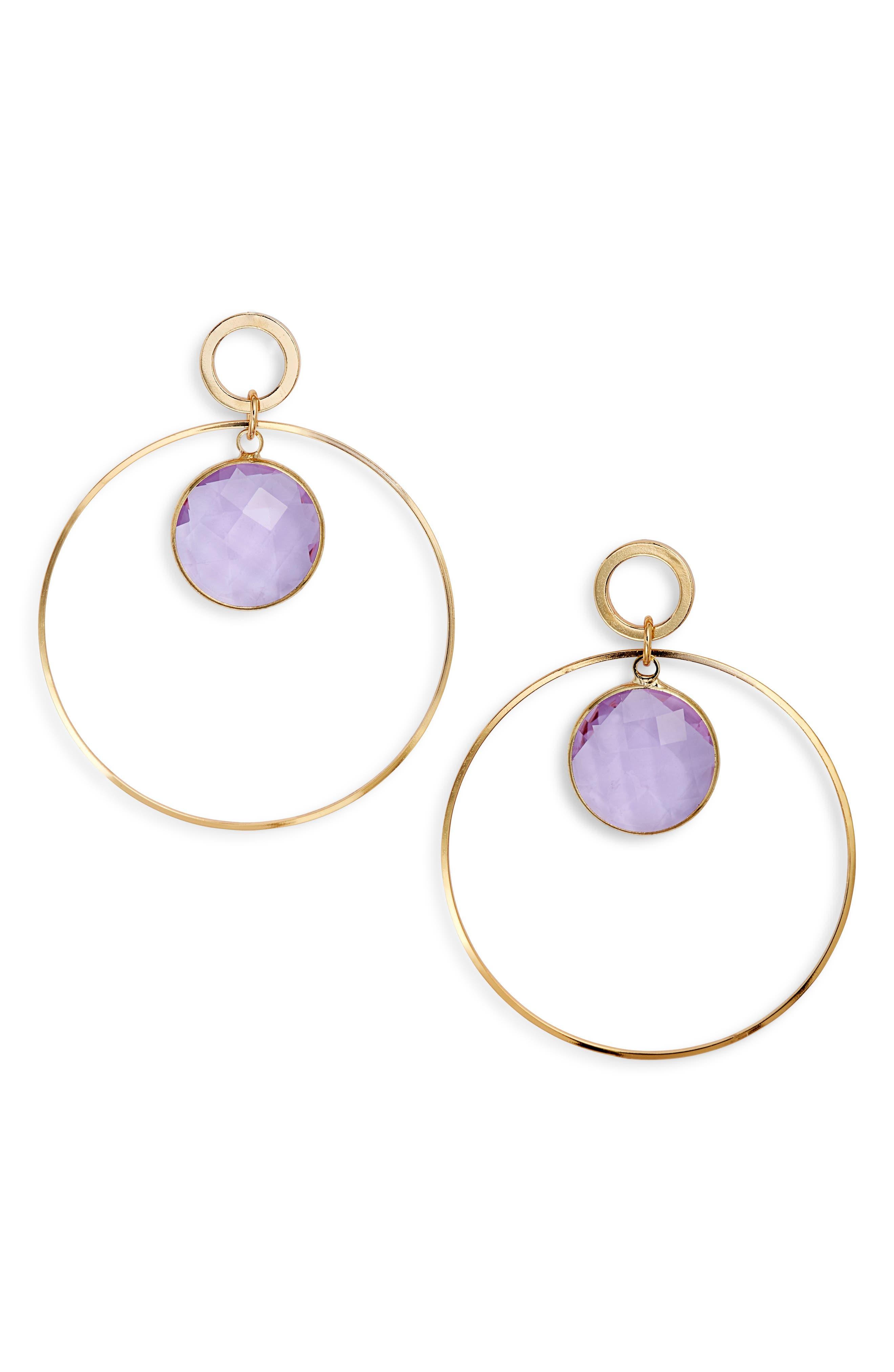 ELISE M. Crystal Hoop Earrings in Gold/ Amethyst