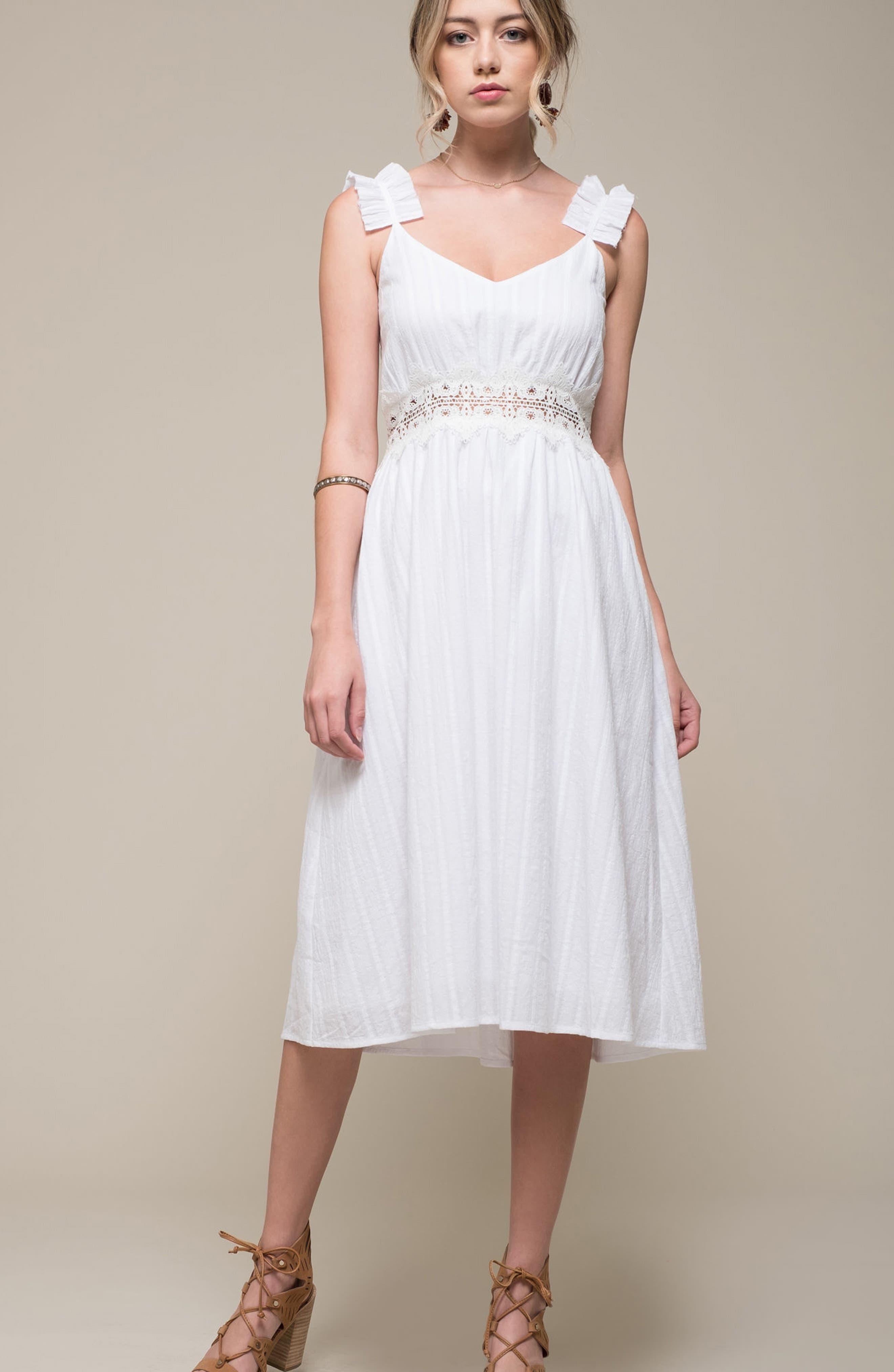 Lace Inset Cotton Dress,                             Alternate thumbnail 7, color,                             100