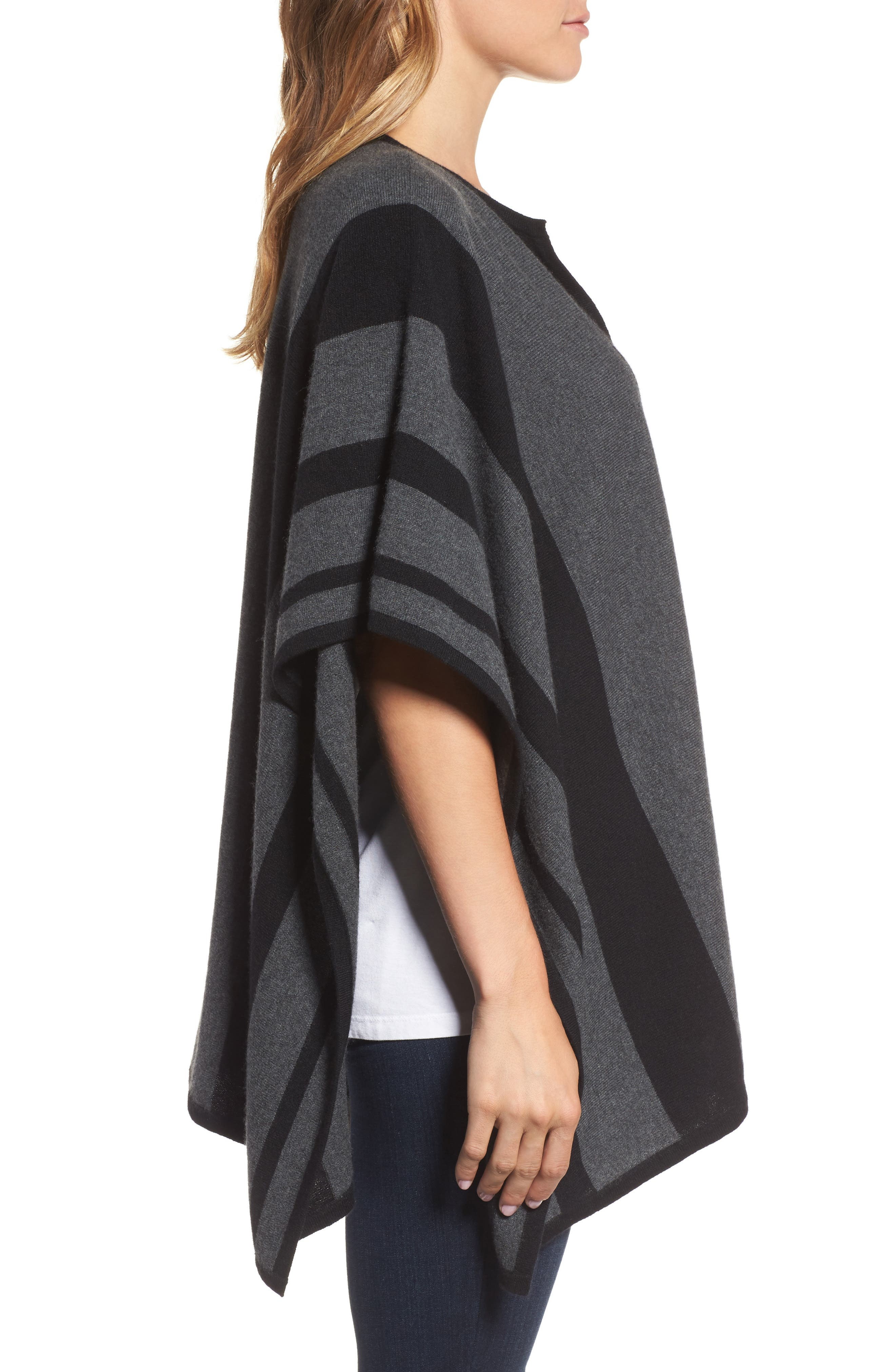 Island Stripe Cashmere Poncho,                             Alternate thumbnail 3, color,                             050