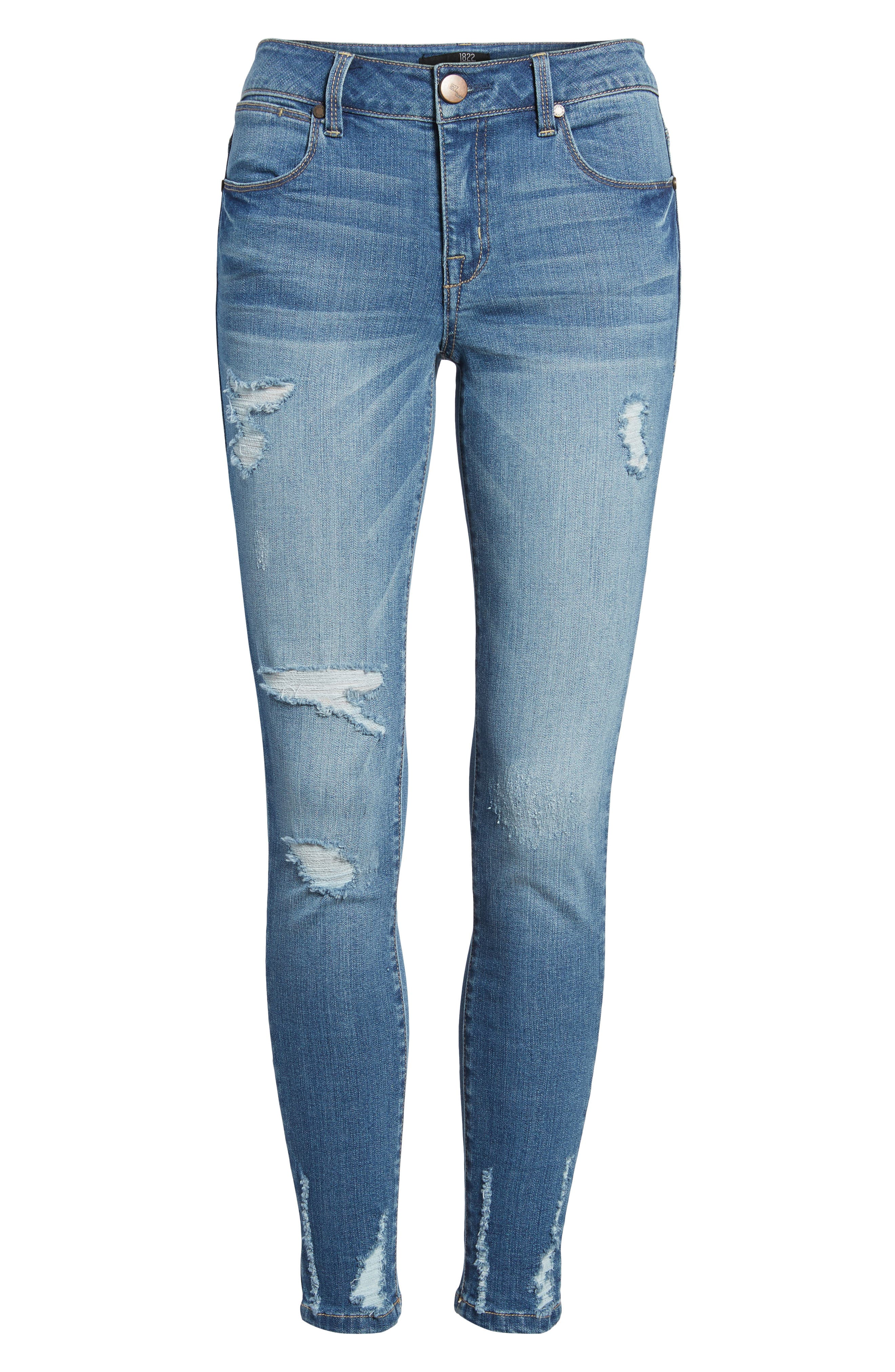 Ripped Skinny Ankle Jeans,                             Alternate thumbnail 7, color,                             423
