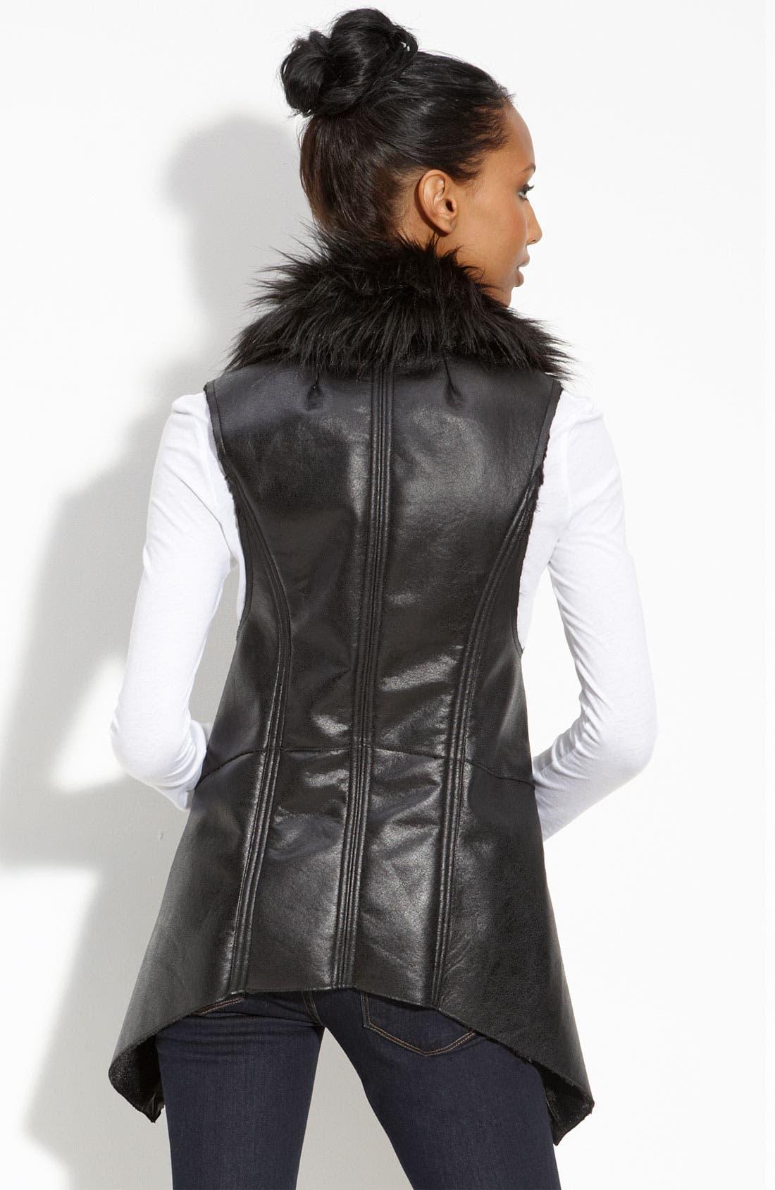 BAGATELLE,                             Faux Fur Trim Open Vest,                             Alternate thumbnail 2, color,                             001