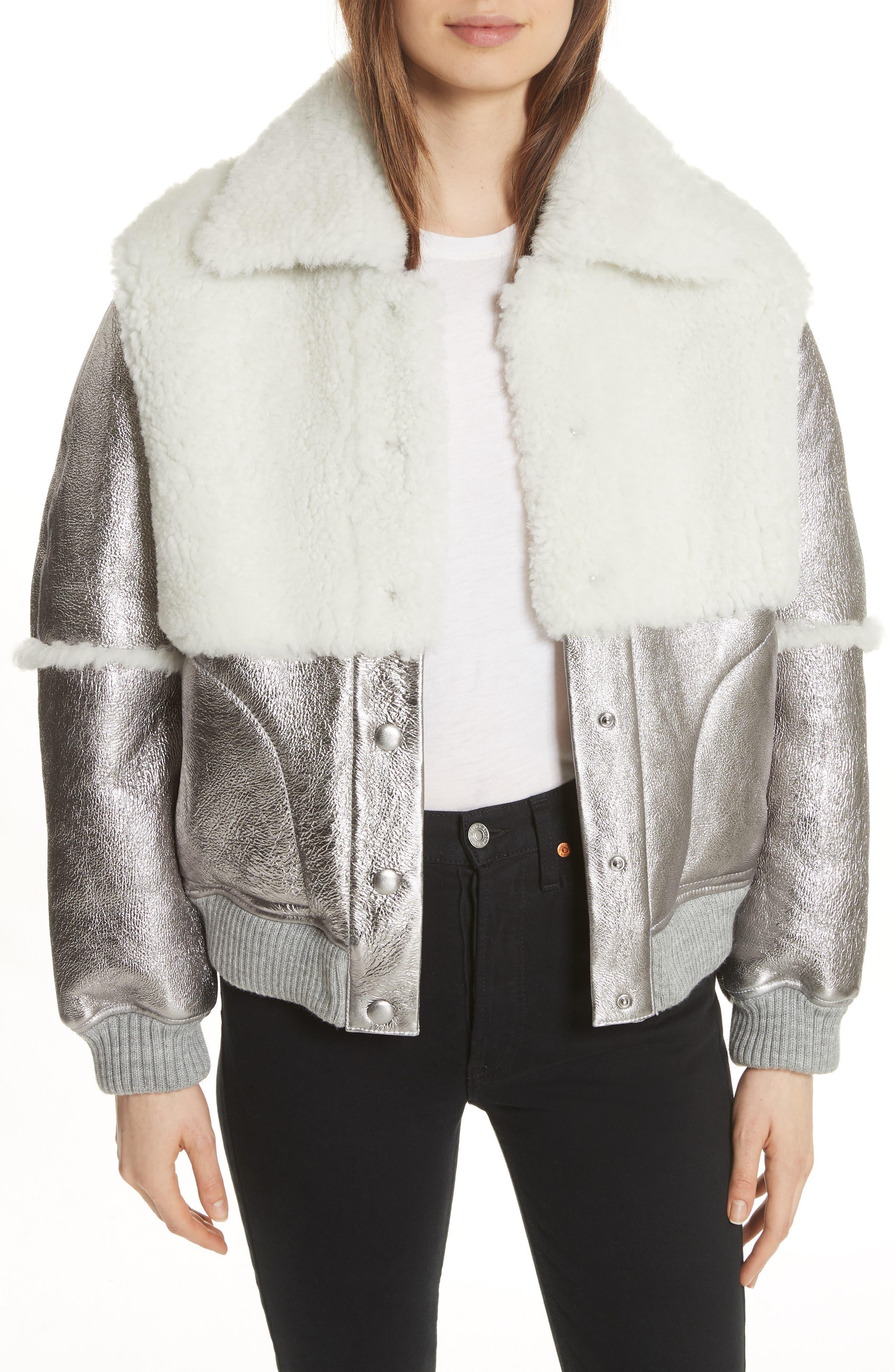 See By Chloe Genuine Shearling Metallic Bomber Jacket, Brown
