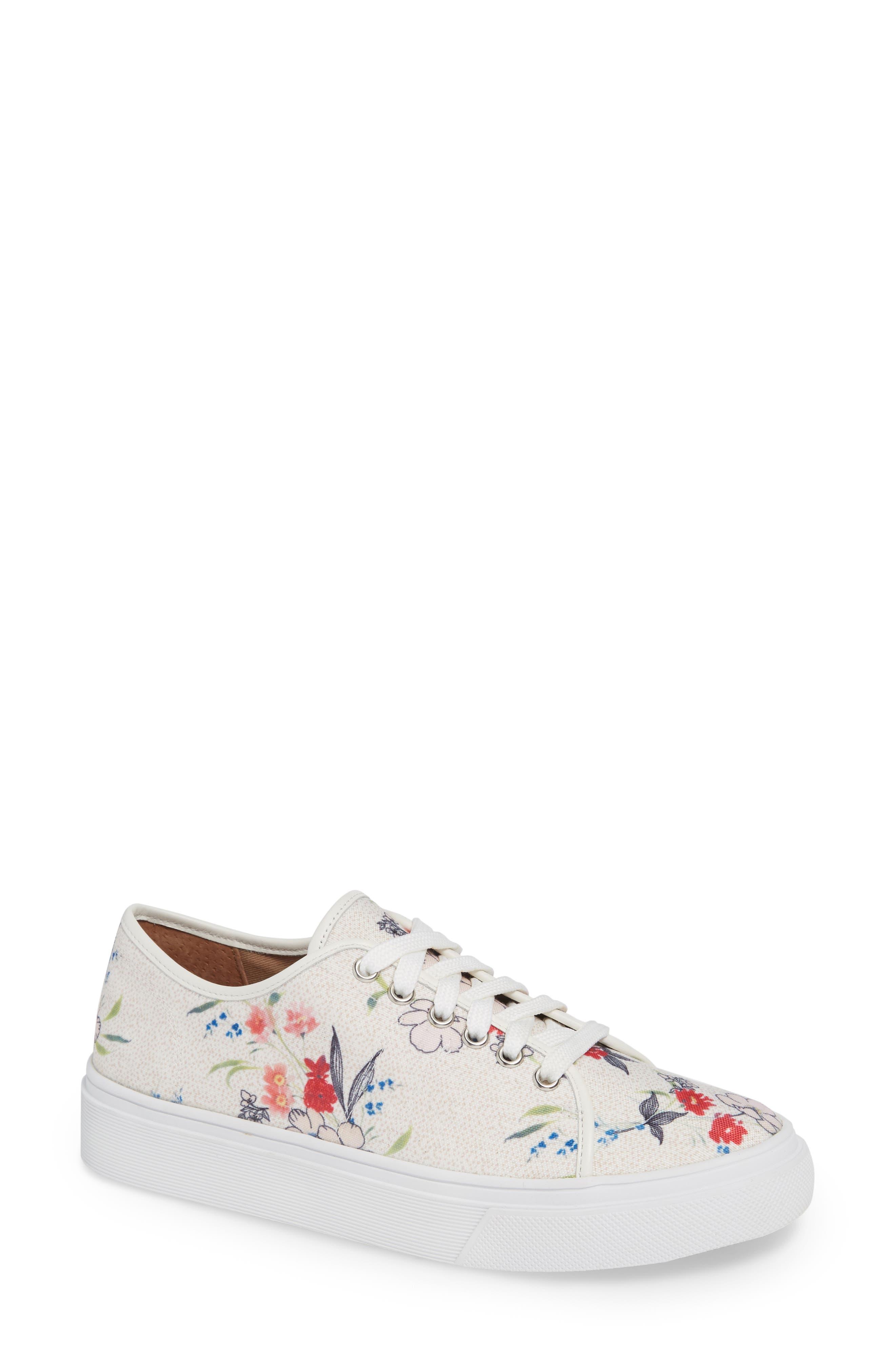 Ethan Low-Top Sneaker,                             Main thumbnail 1, color,                             WHITE FLORAL CANVAS
