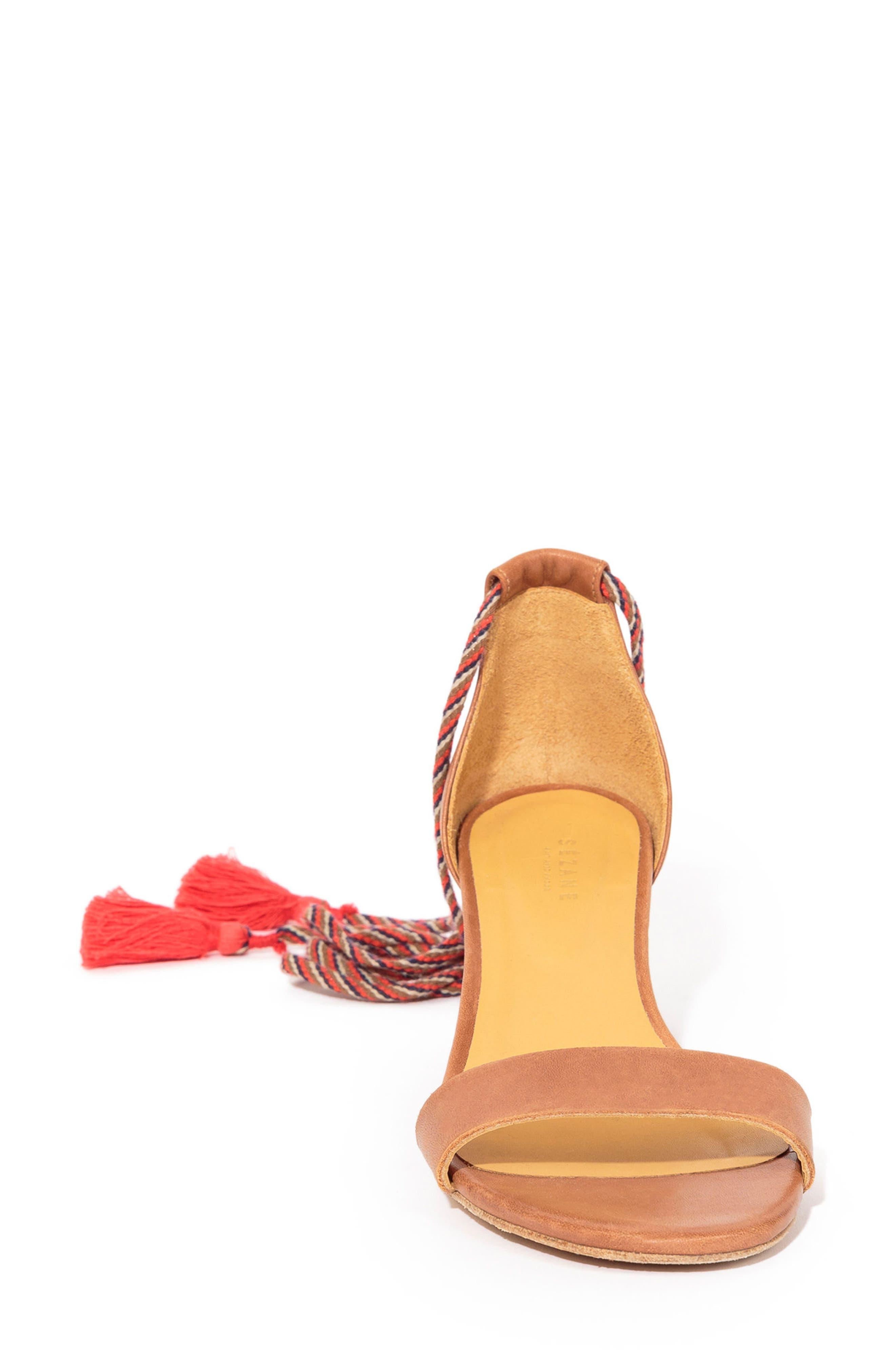 Lorenzo Ankle Wrap Block Heel Sandal,                             Alternate thumbnail 3, color,                             CAMEL LEATHER