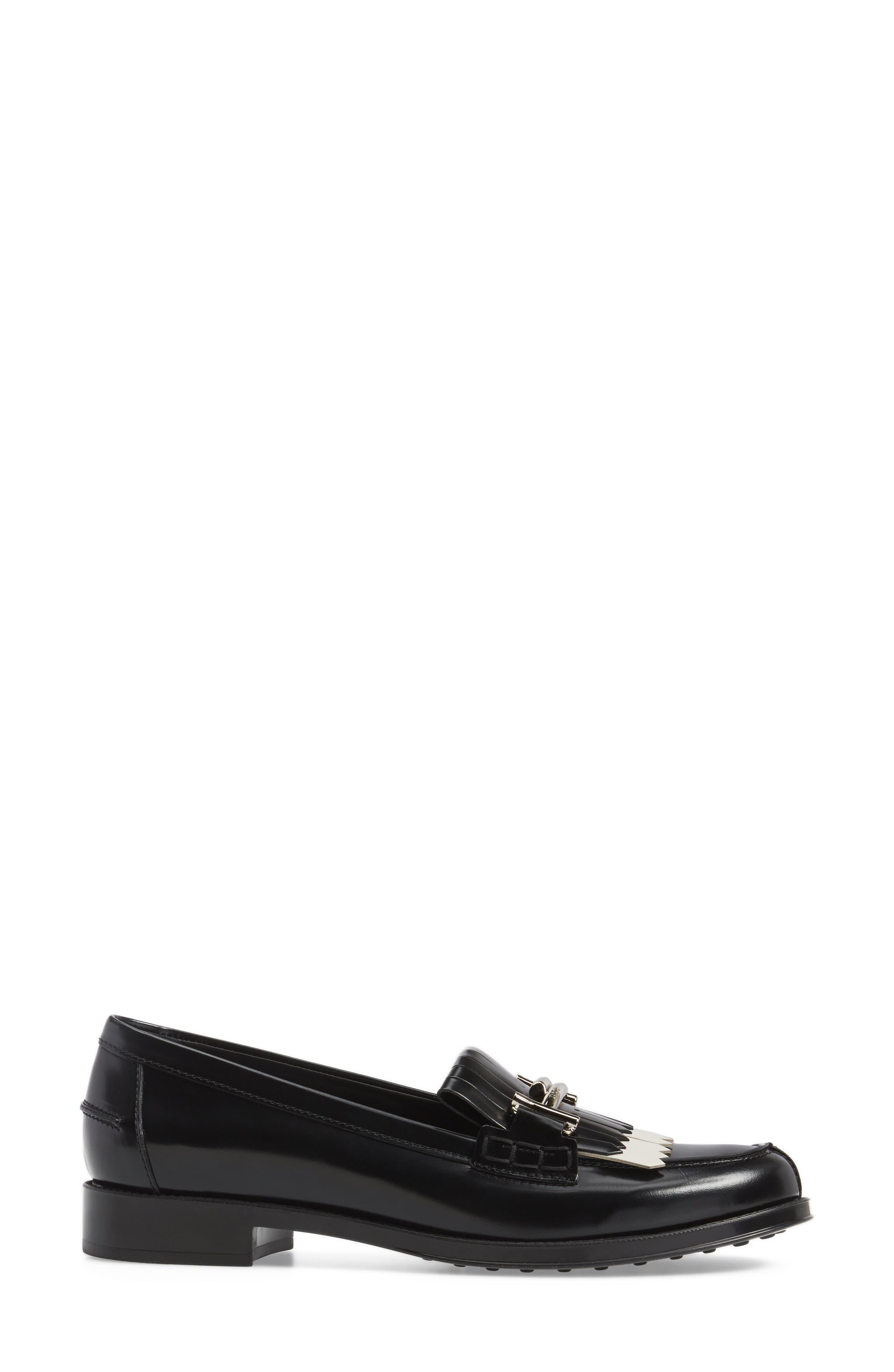 Double T Kiltie Fringe Loafer,                             Alternate thumbnail 3, color,                             001