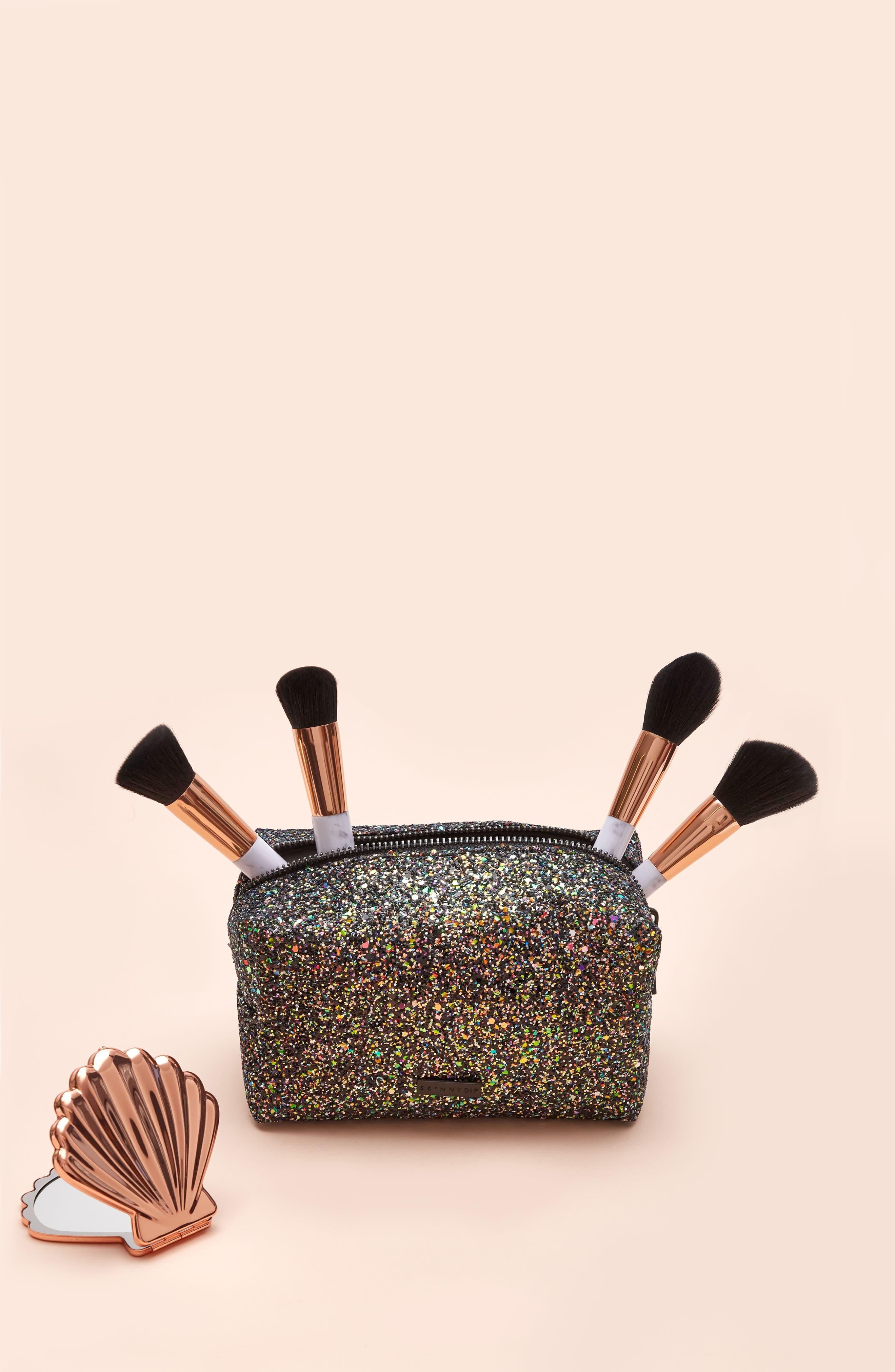 Skinny Dip Liquorice Glitter Cosmetics Bag,                             Alternate thumbnail 6, color,                             000