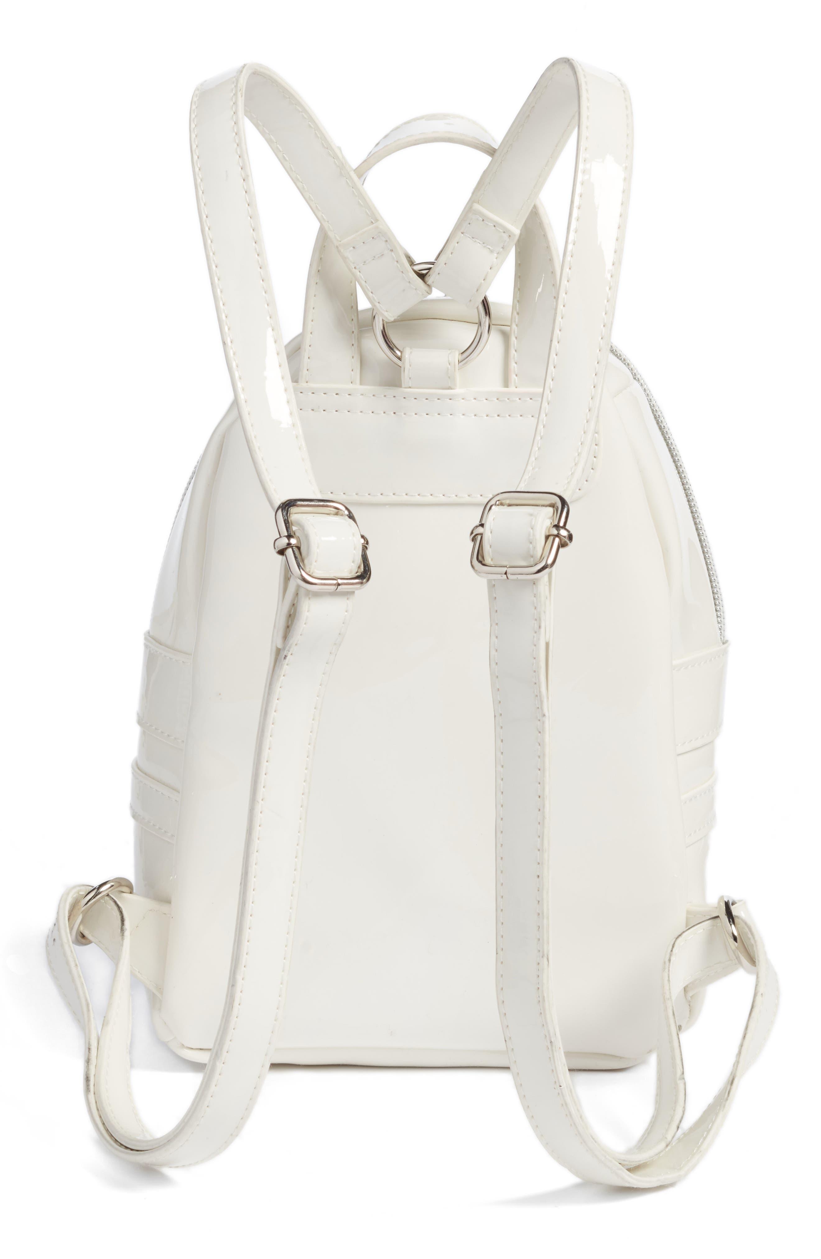 Faux Patent Leather Mini Backpack,                             Alternate thumbnail 3, color,                             100